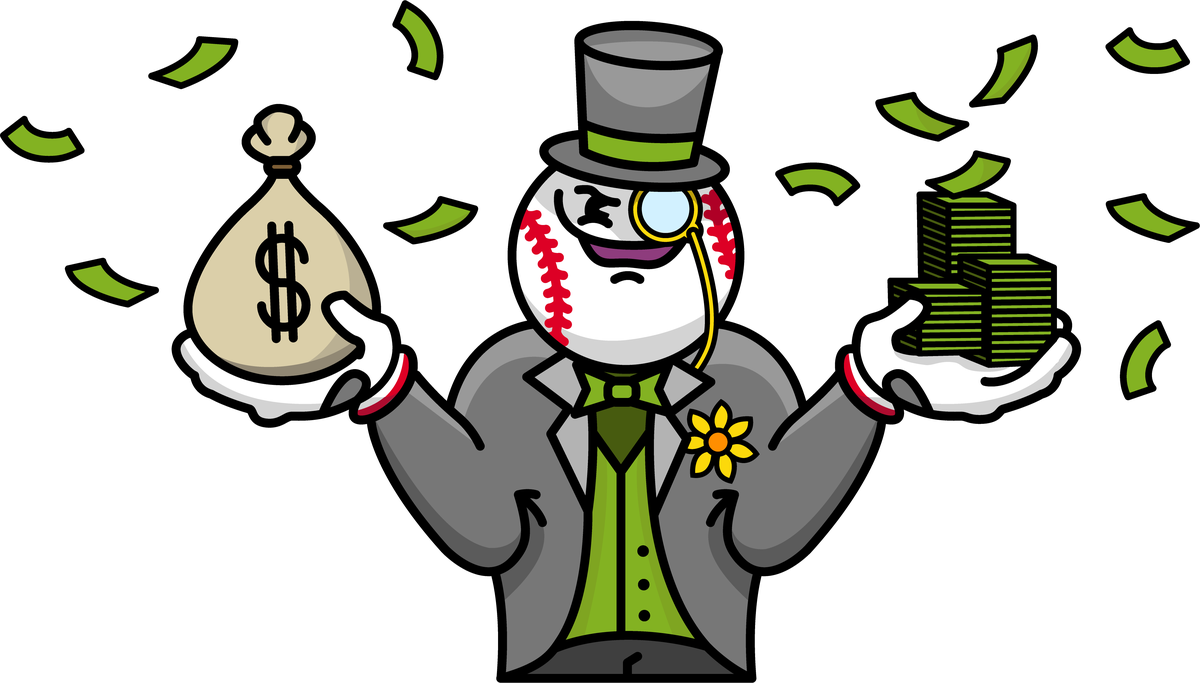 Cartoon illustration of a man with a baseball head dressed like a tycoon — suit, tophat and monocle — laughing maniacally while holding a stack of cash in one hand and a sack with a dollar sign in the other.