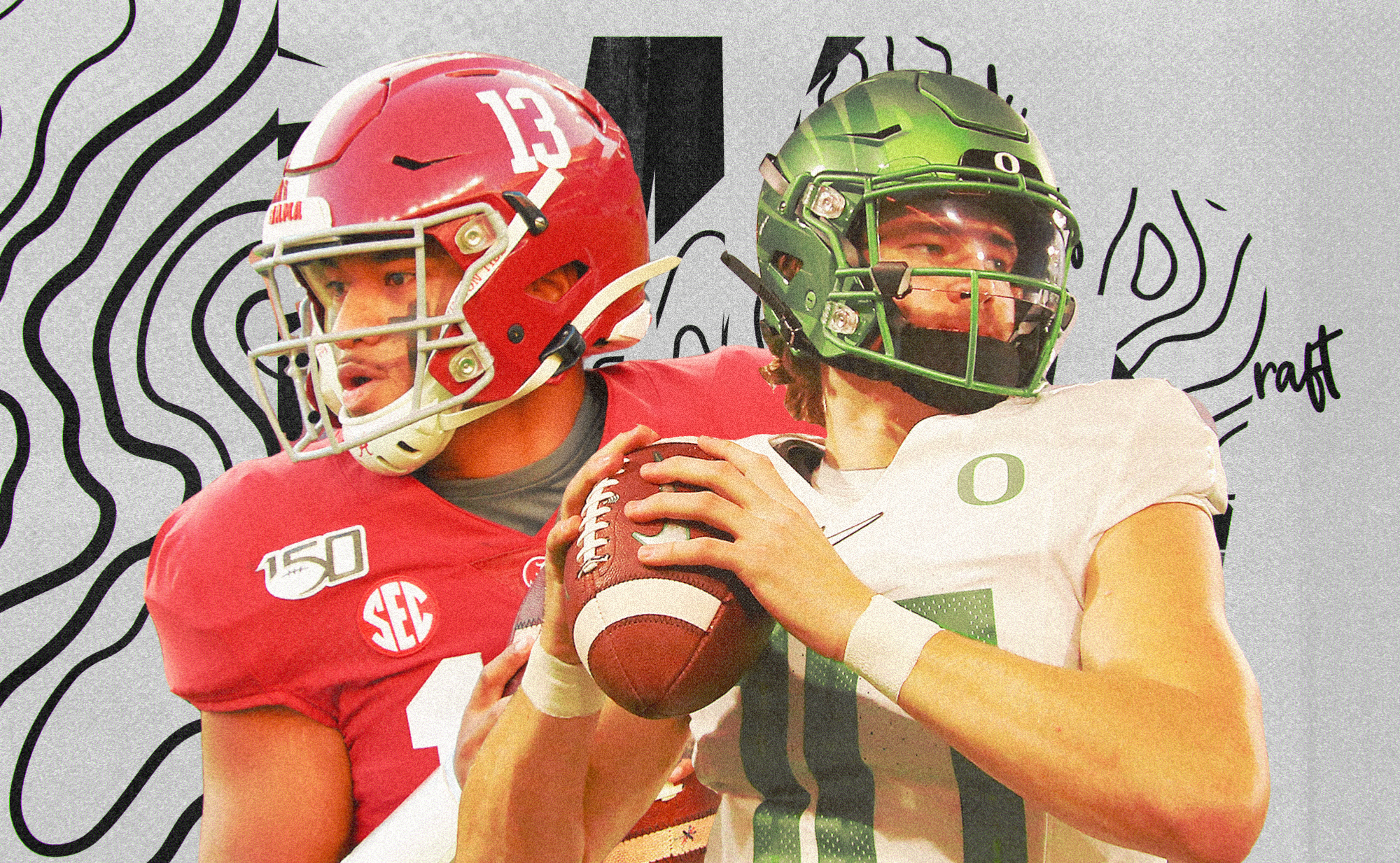 An art collage of NFL Draft QBs Tua Tagovailoa and Justin Herbert, superimposed on a white background with black squiggly lines