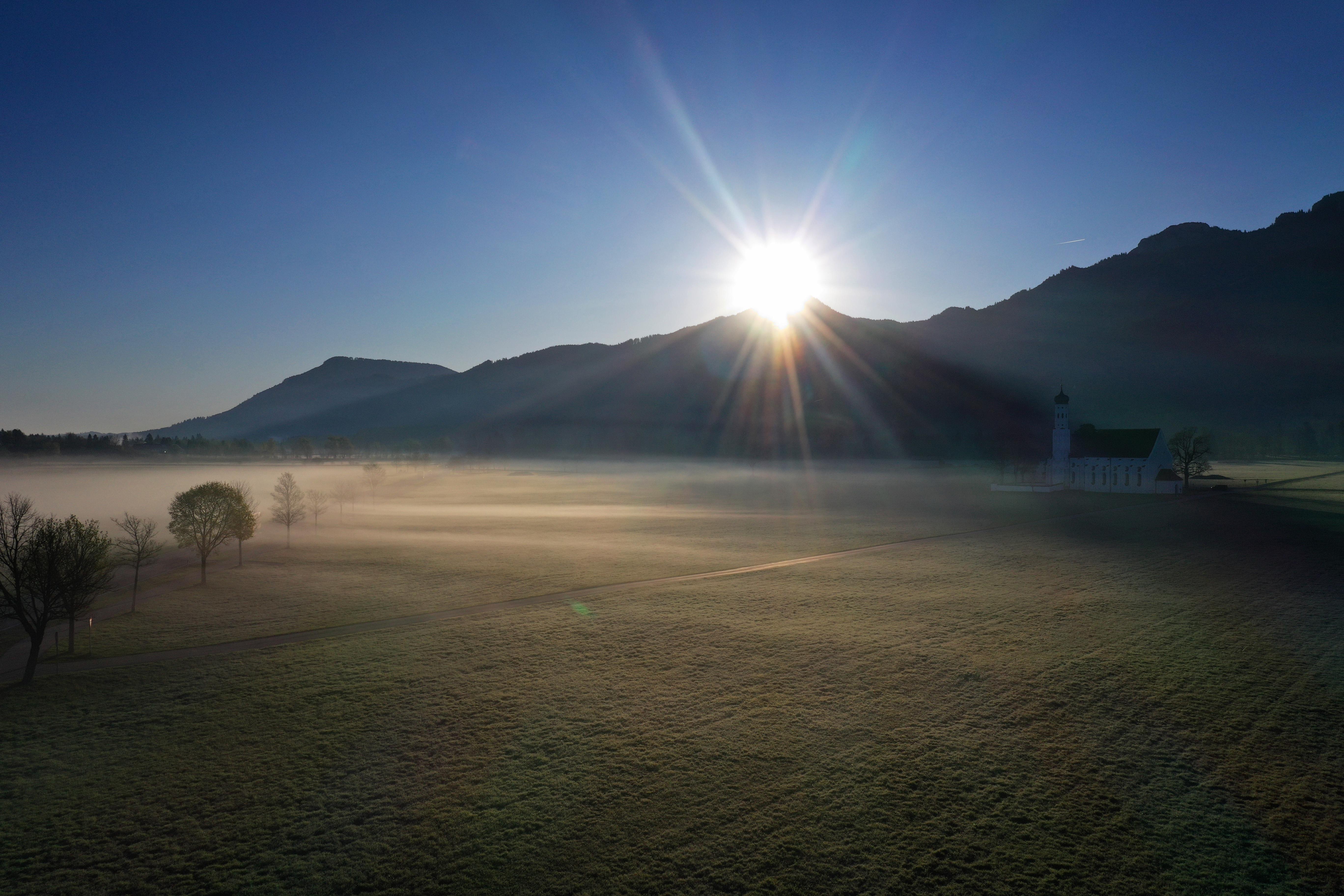 Saint Coloman in the morning mist