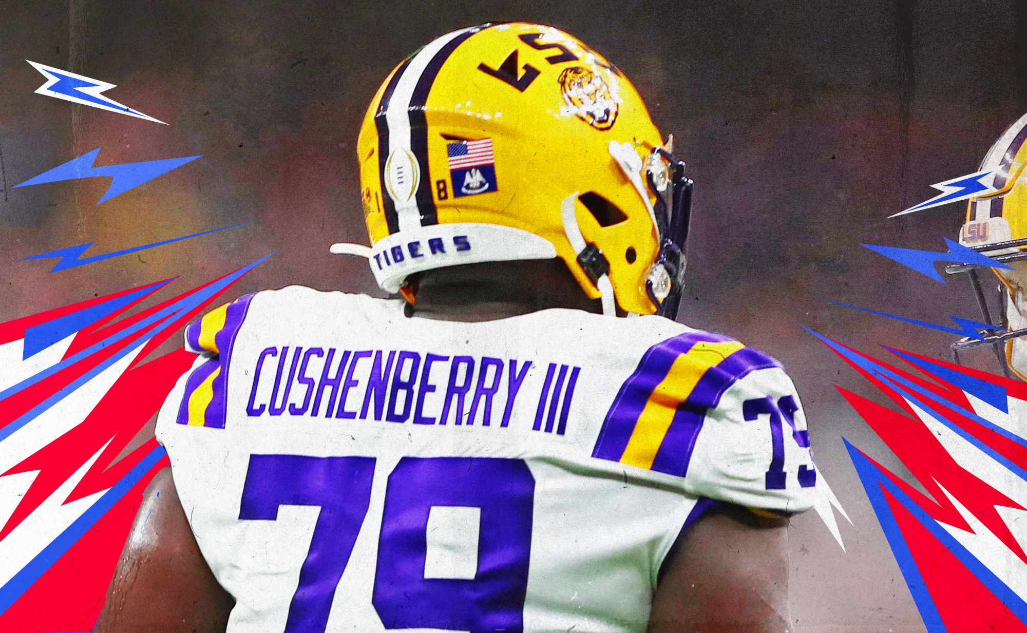 A photo showing the back of LSU OT Lloyd Cushenberry III's jersey, with red, white, and blue lines in the background