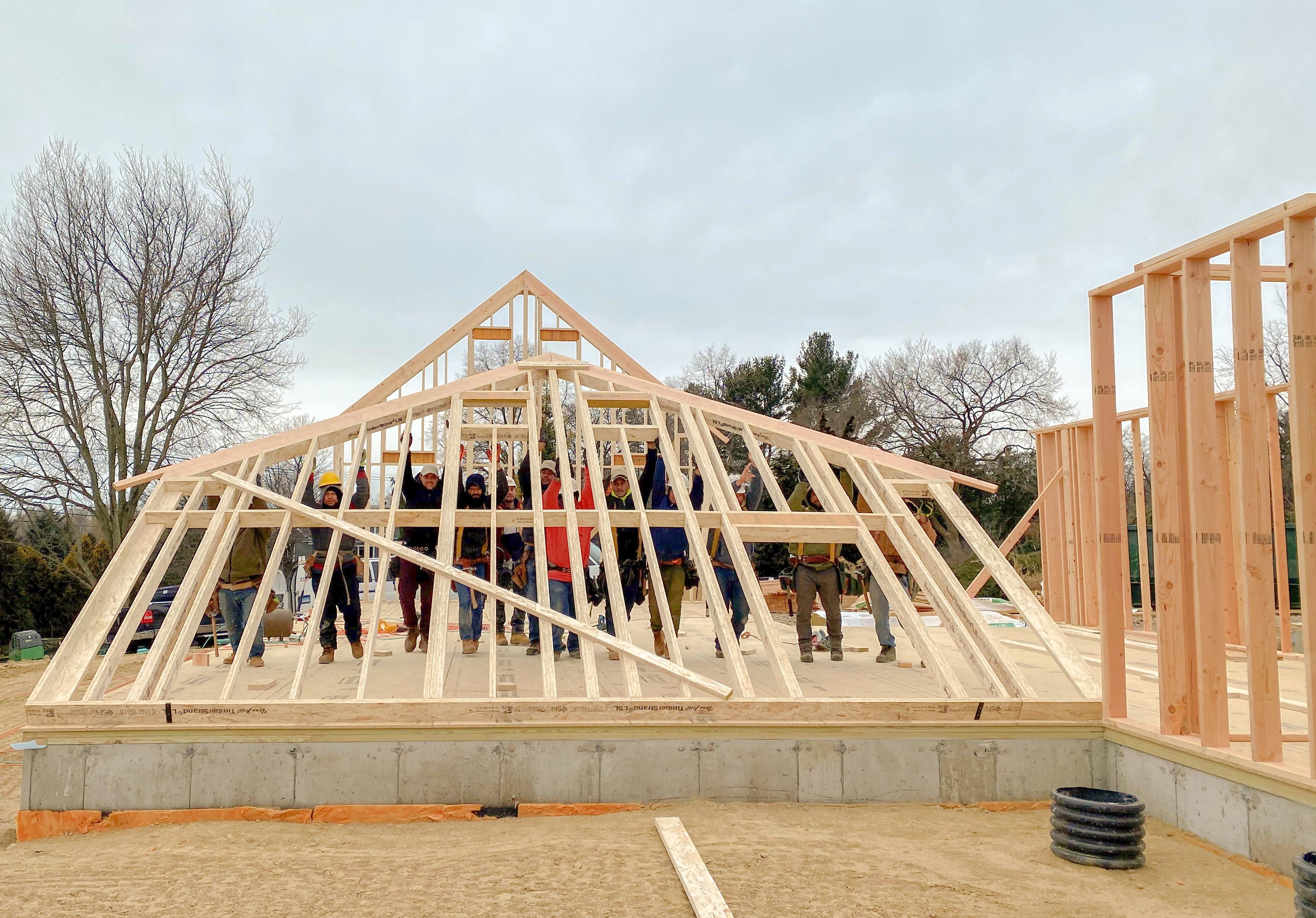 Fairfield County Farmhouse, Progress, Raising Walls