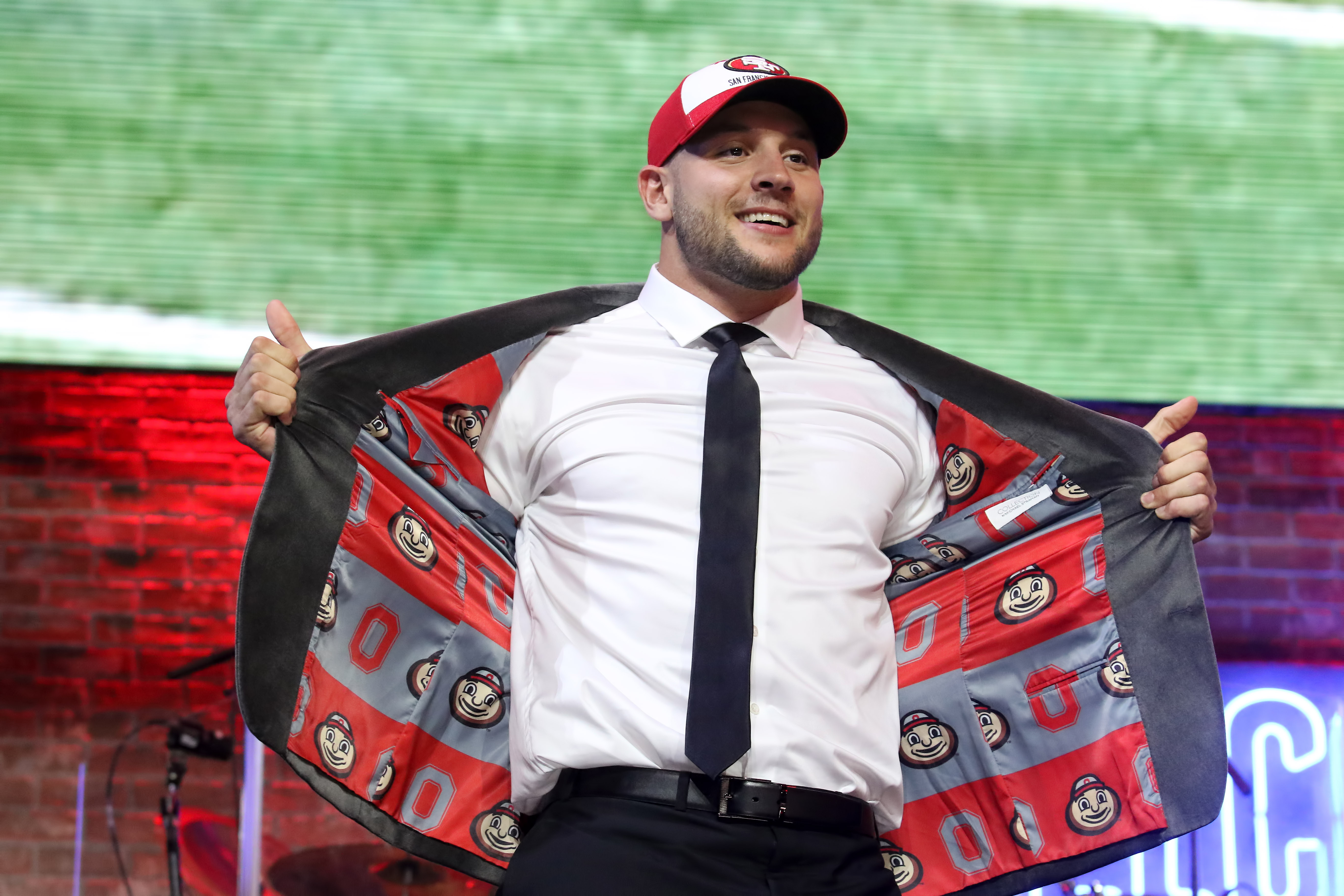 NASHVILLE, TN - APRIL 25: Ohio State defensive end Nick Bosa is selected by the San Francisco 49ers with the second pick during the first round of the 2019 NFL Draft on April 25, 2019, at the Draft Main Stage on Lower Broadway in downtown Nashville, TN.