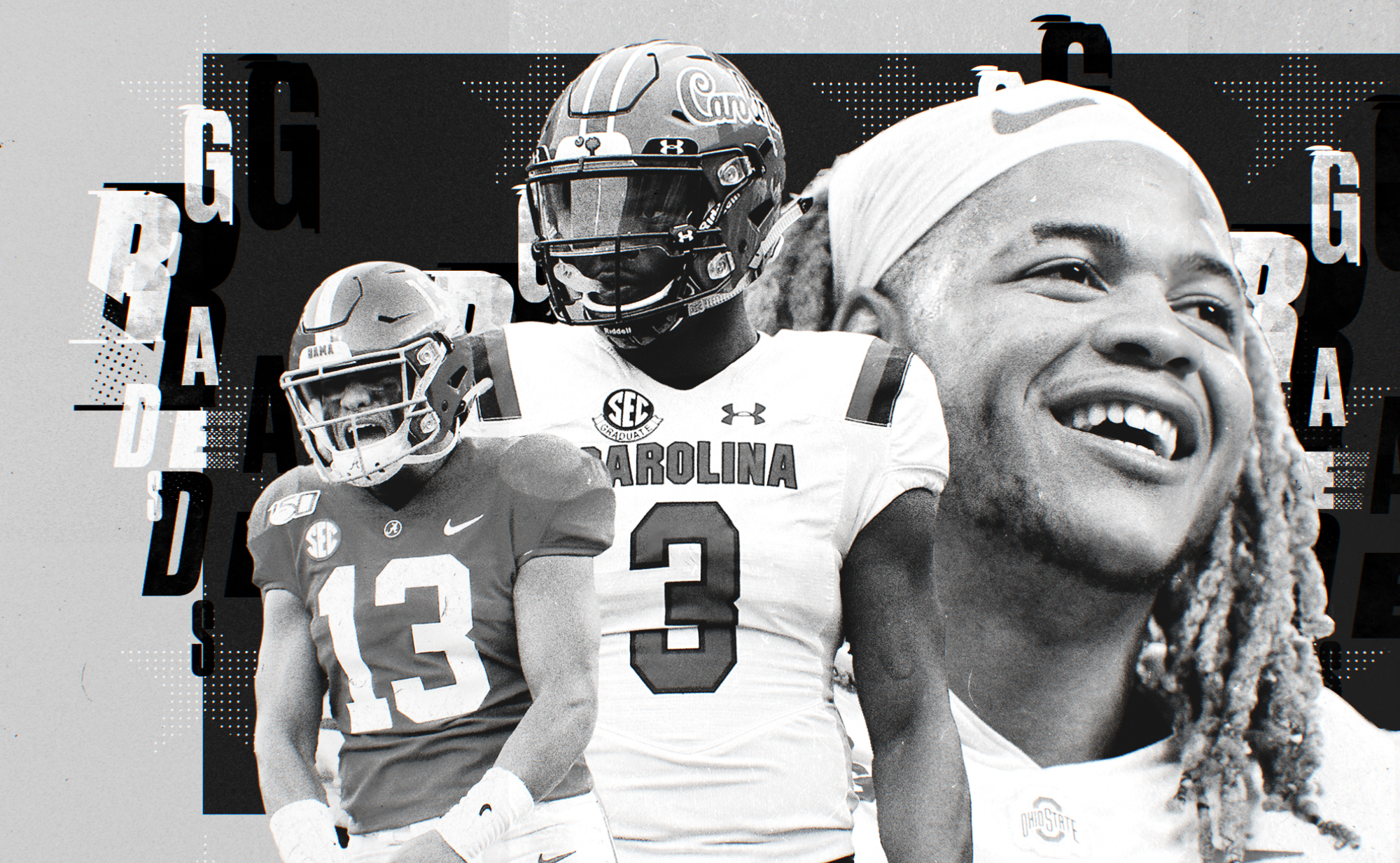 """A black and white collage of NFL Draft picks Tua Tagovailoa, Javon Kinlaw, and Chase Young, with the word """"grades"""" in the background"""