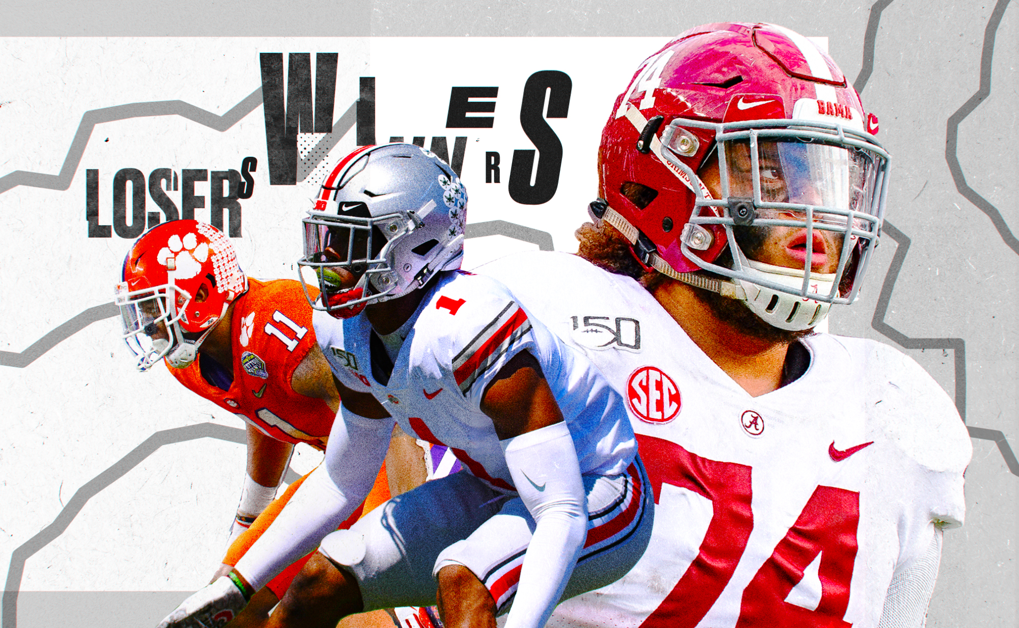 """An art collage of NFL Draft picks Isaiah Simmons, Jeff Okudah, and Jedrick Wills, superimposed on a black and white background with the words """"winners"""" and """"losers"""""""