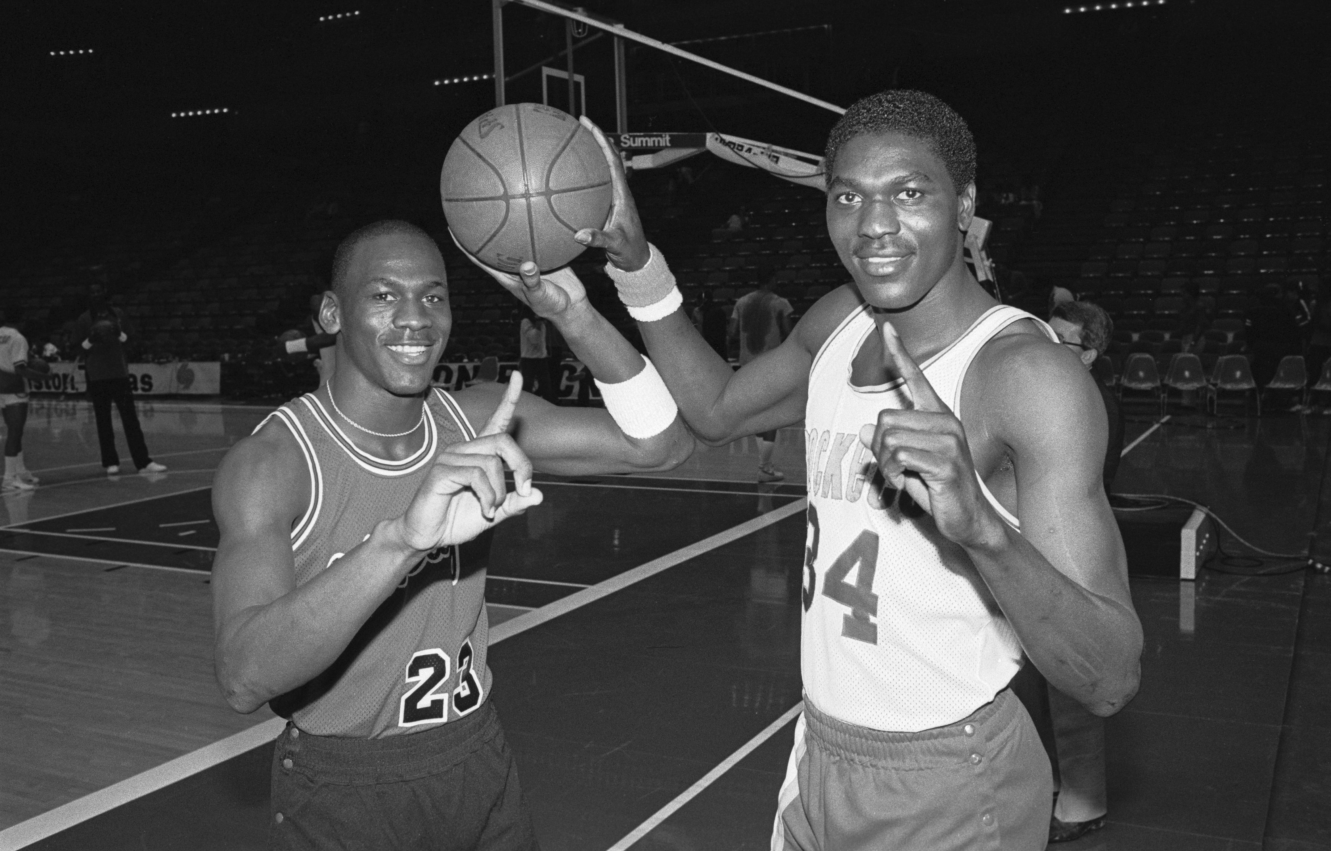 Michael Jordan and Akeem Olajuwon in Rookie Seasons