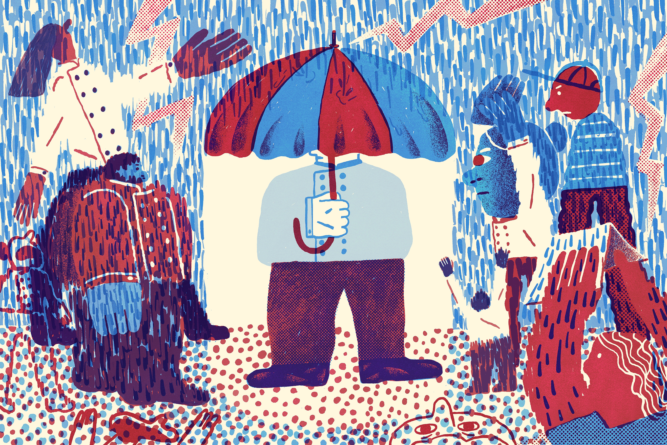 Illustration of man in chef's coat holds umbrella over himself in the pouring rain while all other chefs are left in the rain.