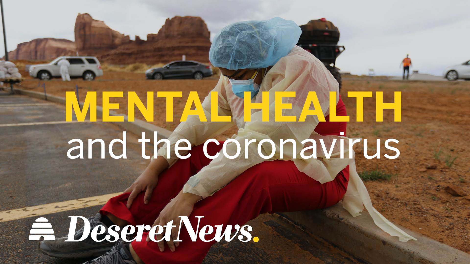 Person wearing medical gear sitting on the ground hunched over with the words mental health and the coronavirus