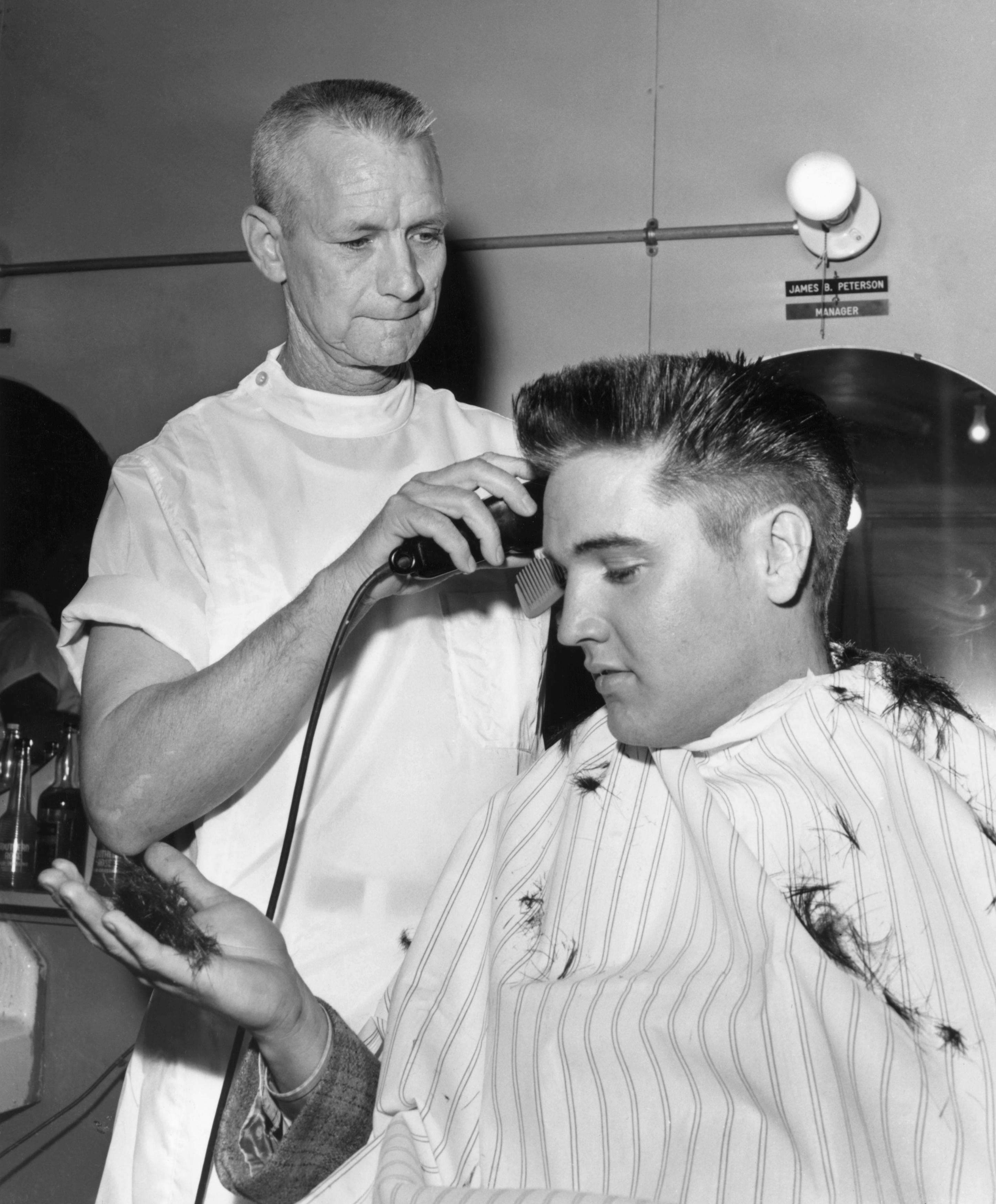 Elvis Presley Receives an Army Crew Cut