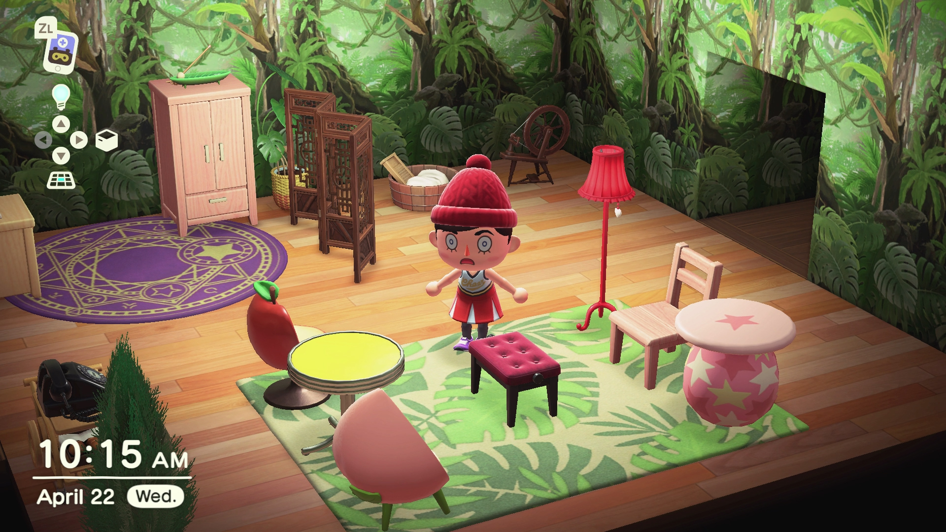 My Animal Crossing avatar, dressing a red knit cap and a red cheerleader outfit, gawking at some horrible furniture arrangement.