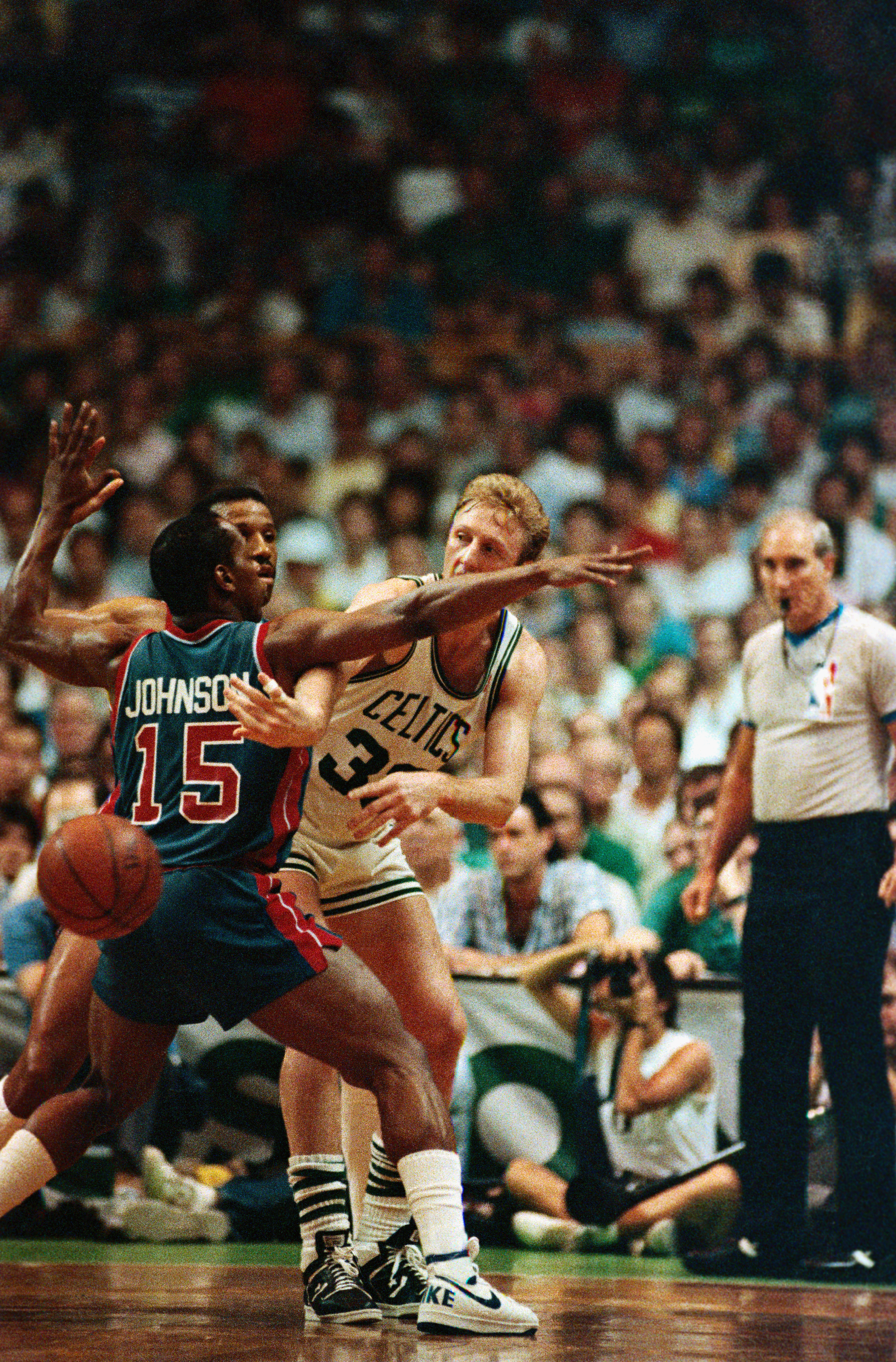 Larry Bird in Playoff Action Against the Detroit Pistons