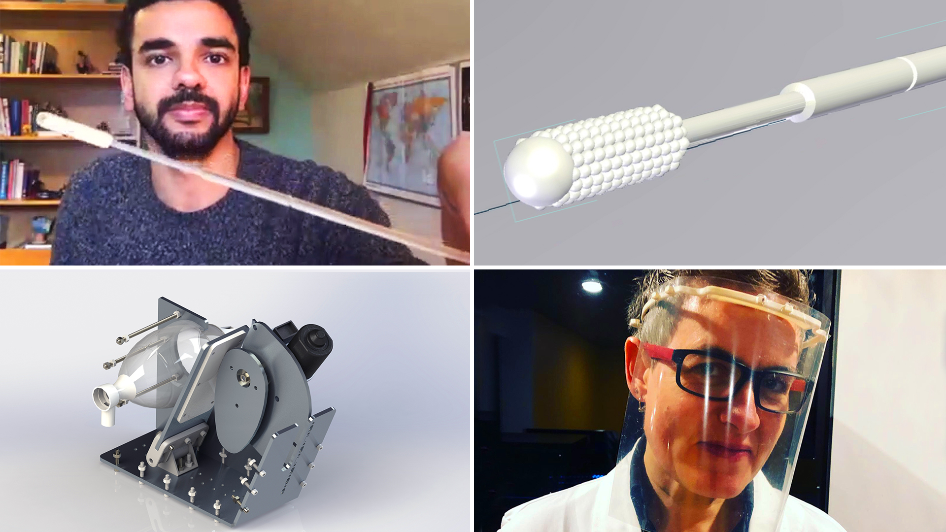 A montage of makers holding the medical equipment they made, and computer renderings of the equipment.
