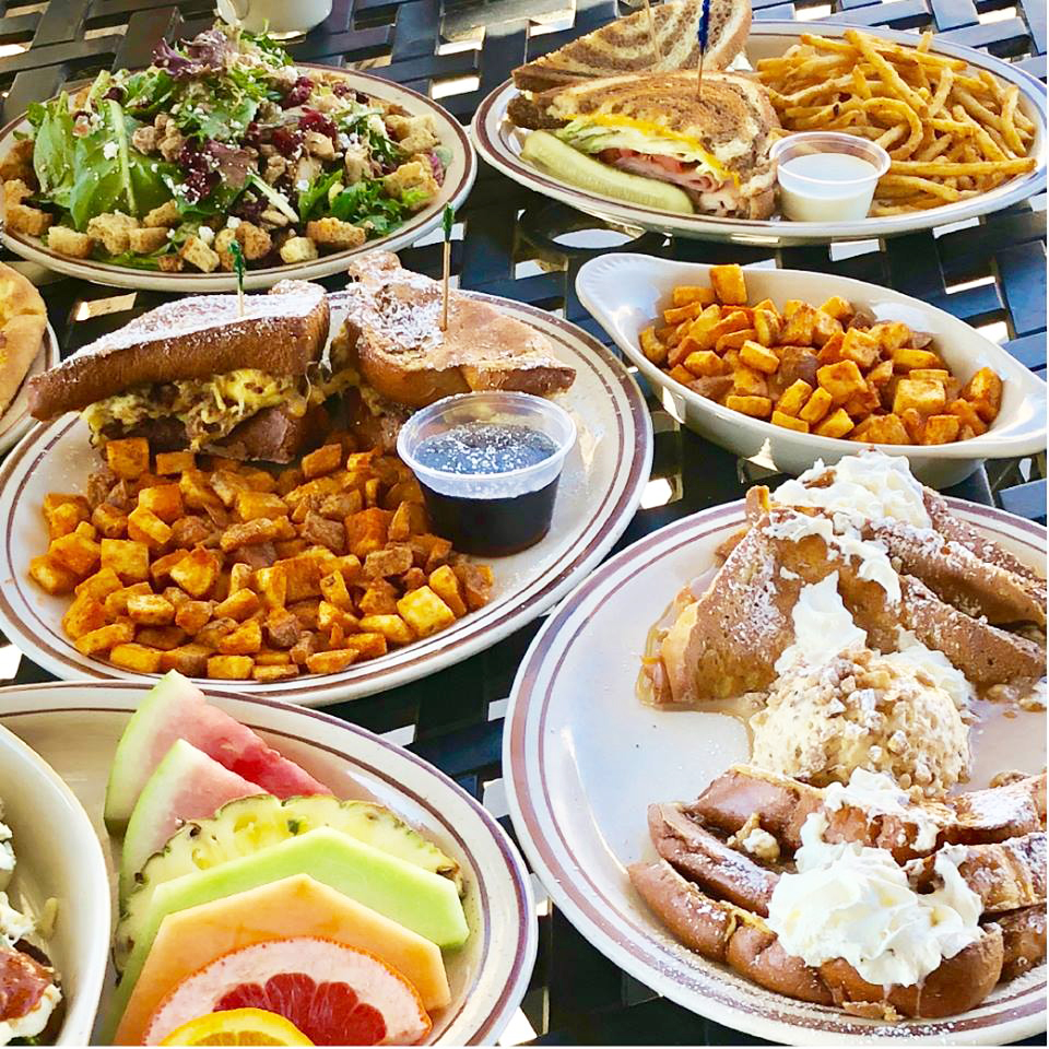 An array of breakfast dishes