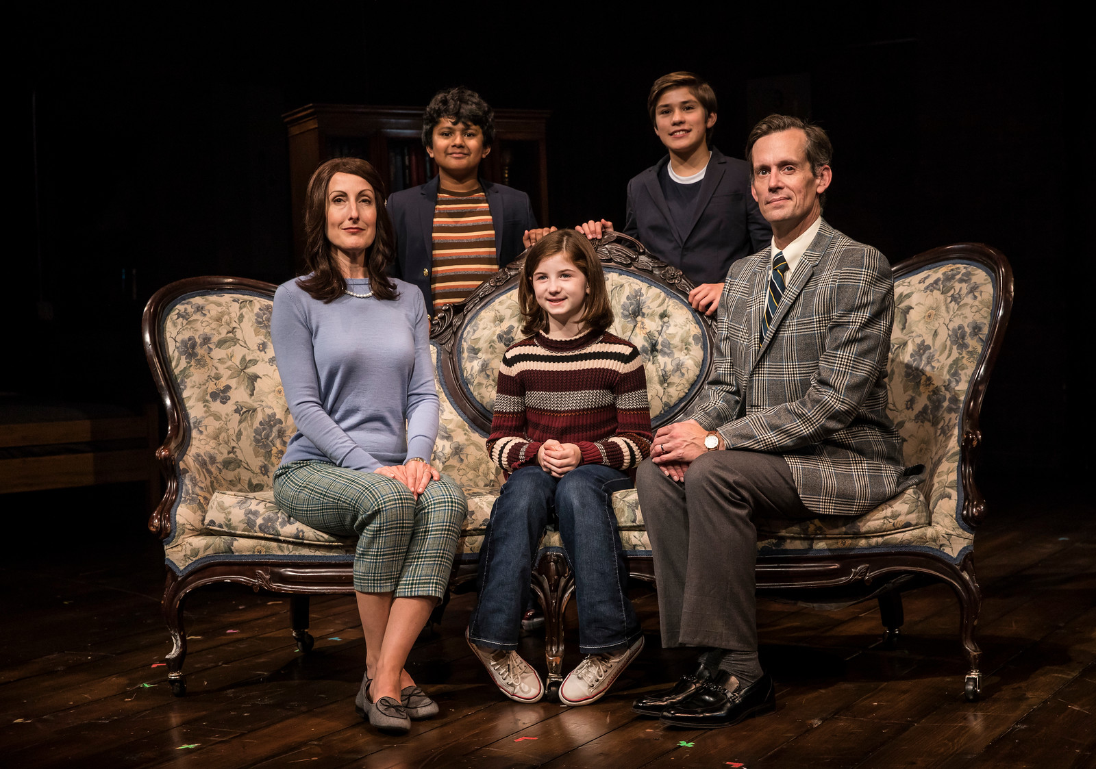 "McKinley Carter (from left), Preetish Chakraborty, Stella Rose Hoyt, Leo Gonzalez and Rob Lindley in the 2017 Victory Gardens Theater production of ""Fun Home."""