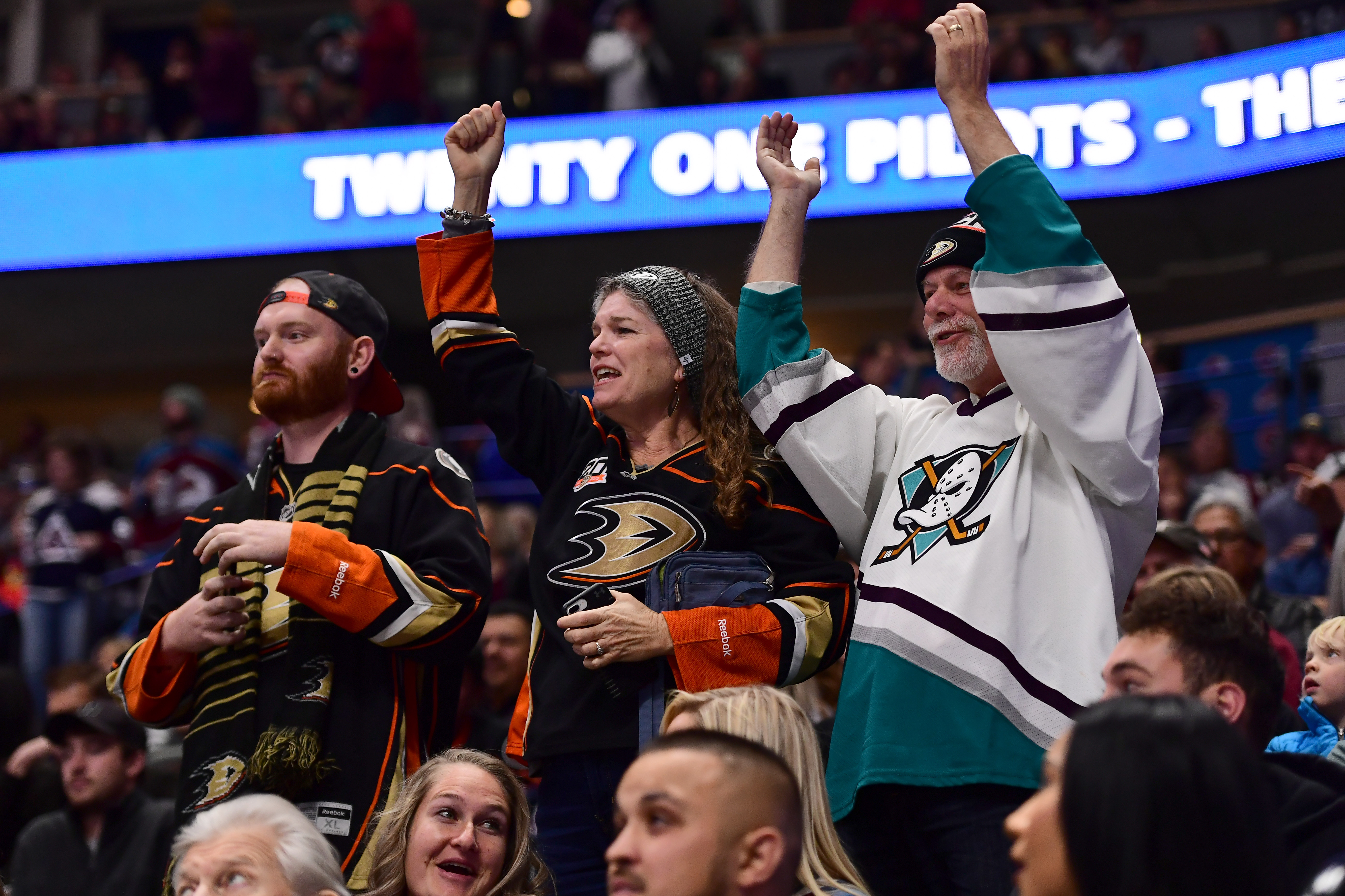 Oct 26, 2019; Denver, CO, USA; Anaheim Ducks fans celebrate a score in the first period against the Colorado Avalanche at the Pepsi Center.