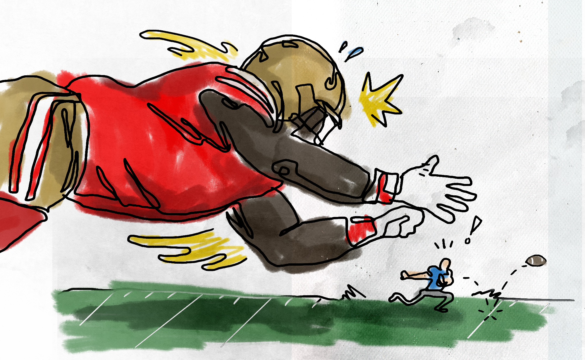 A cartoon illustration of a large football player diving toward a much smaller player while the football pops loose