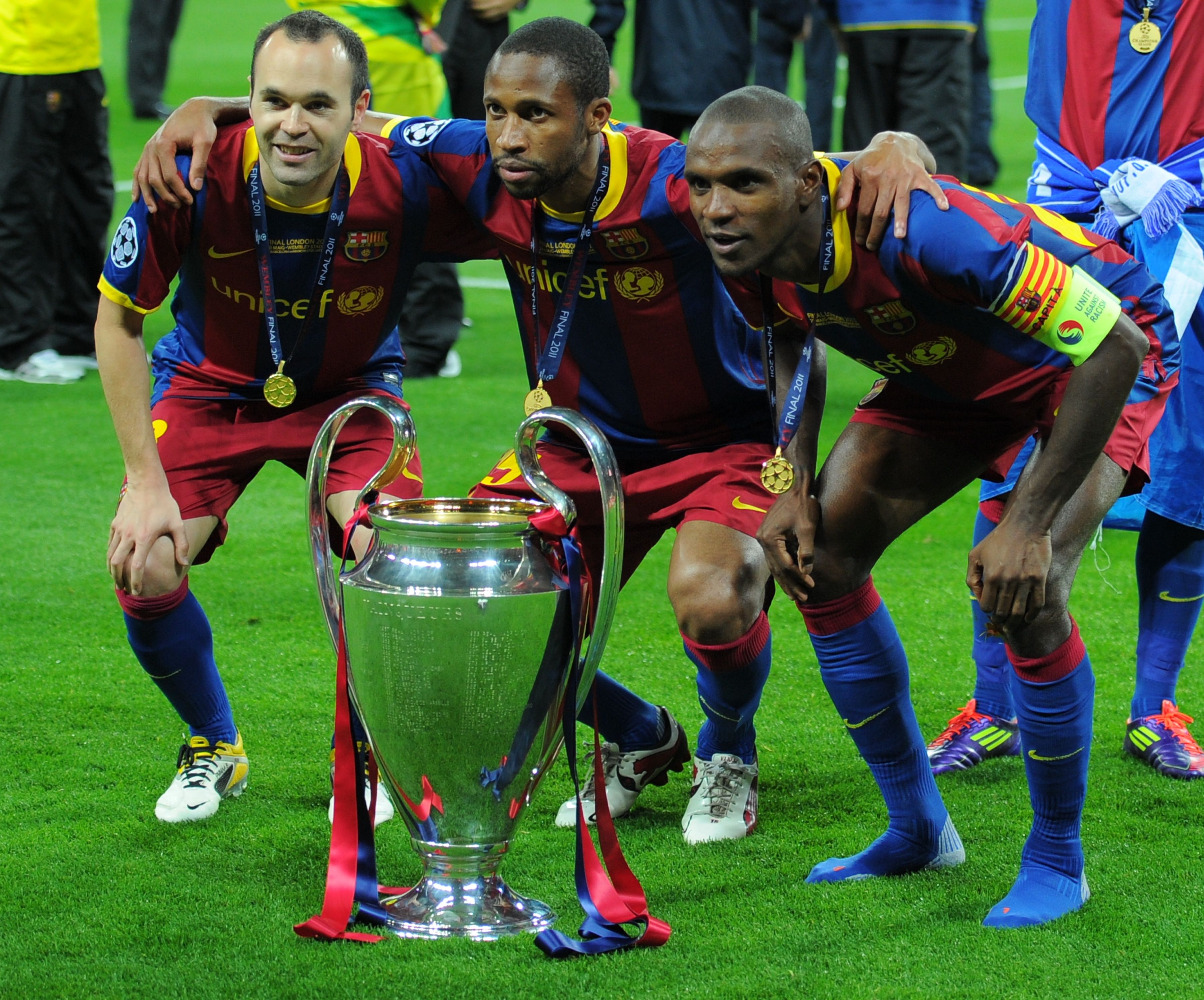 (LtoR) Barcelona's Spanish midfielder An