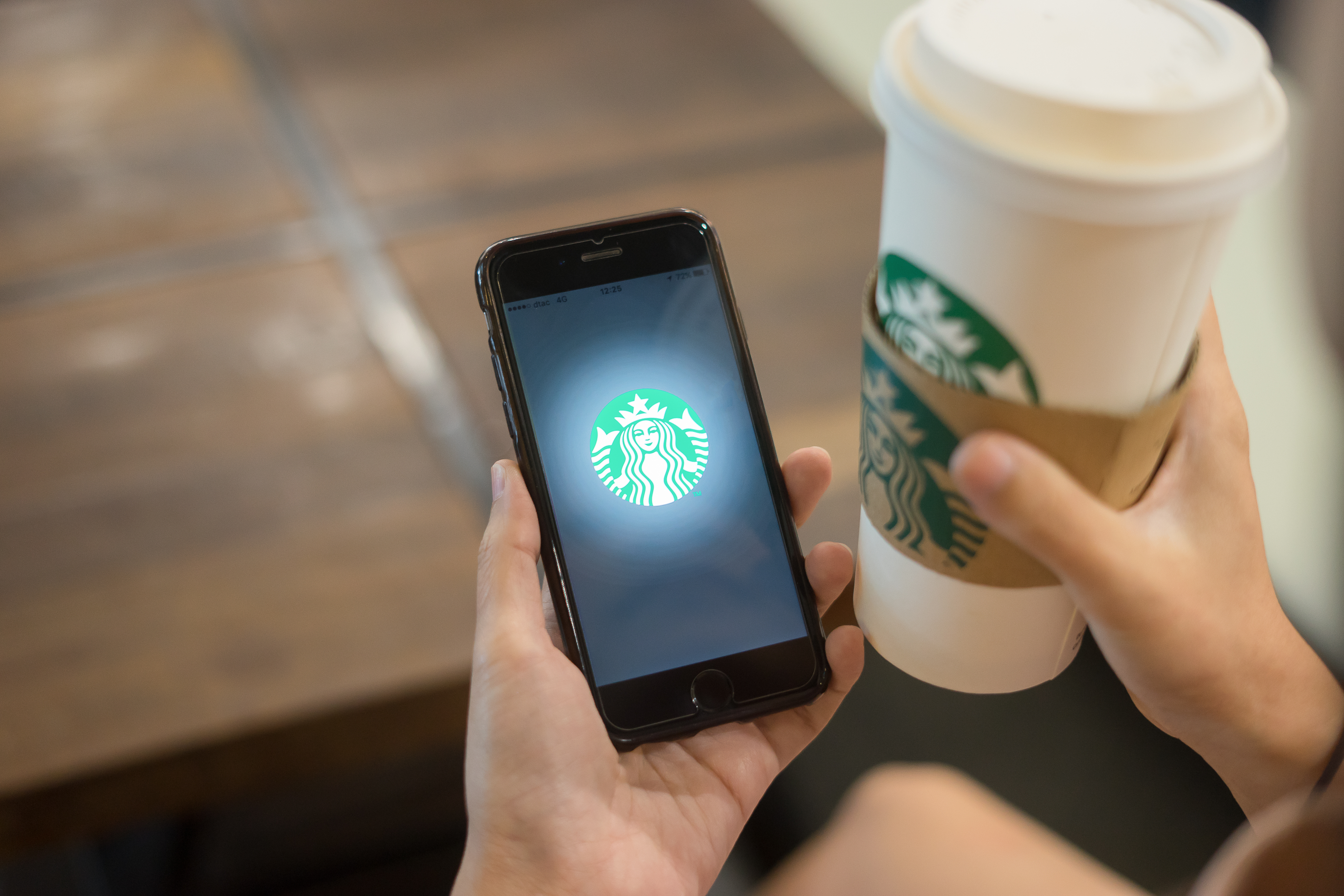 Starbucks cup and a hand holding a phone with the Starbucks app.