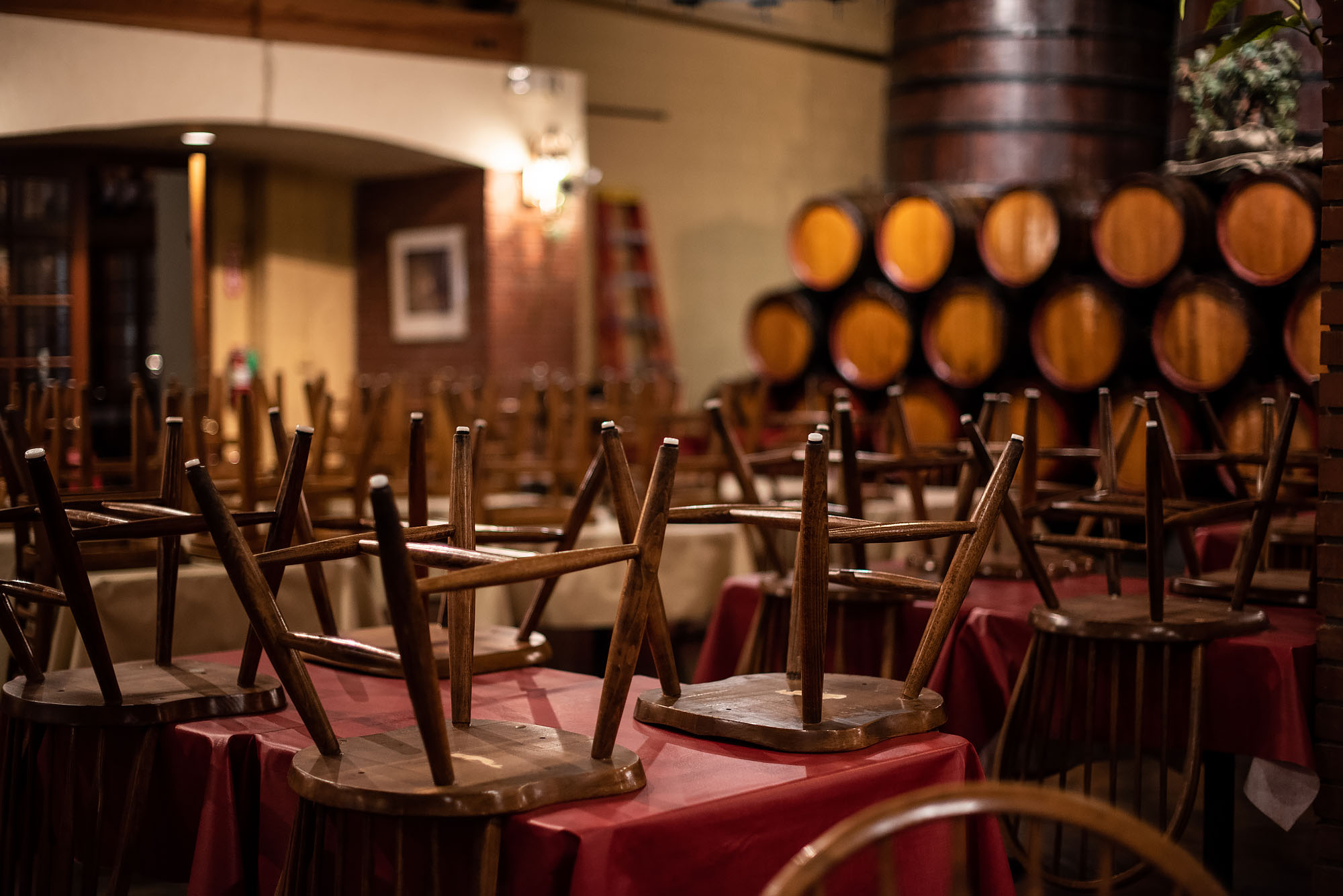 Chairs placed up at San Antonio Winery's dining room in Los Angeles
