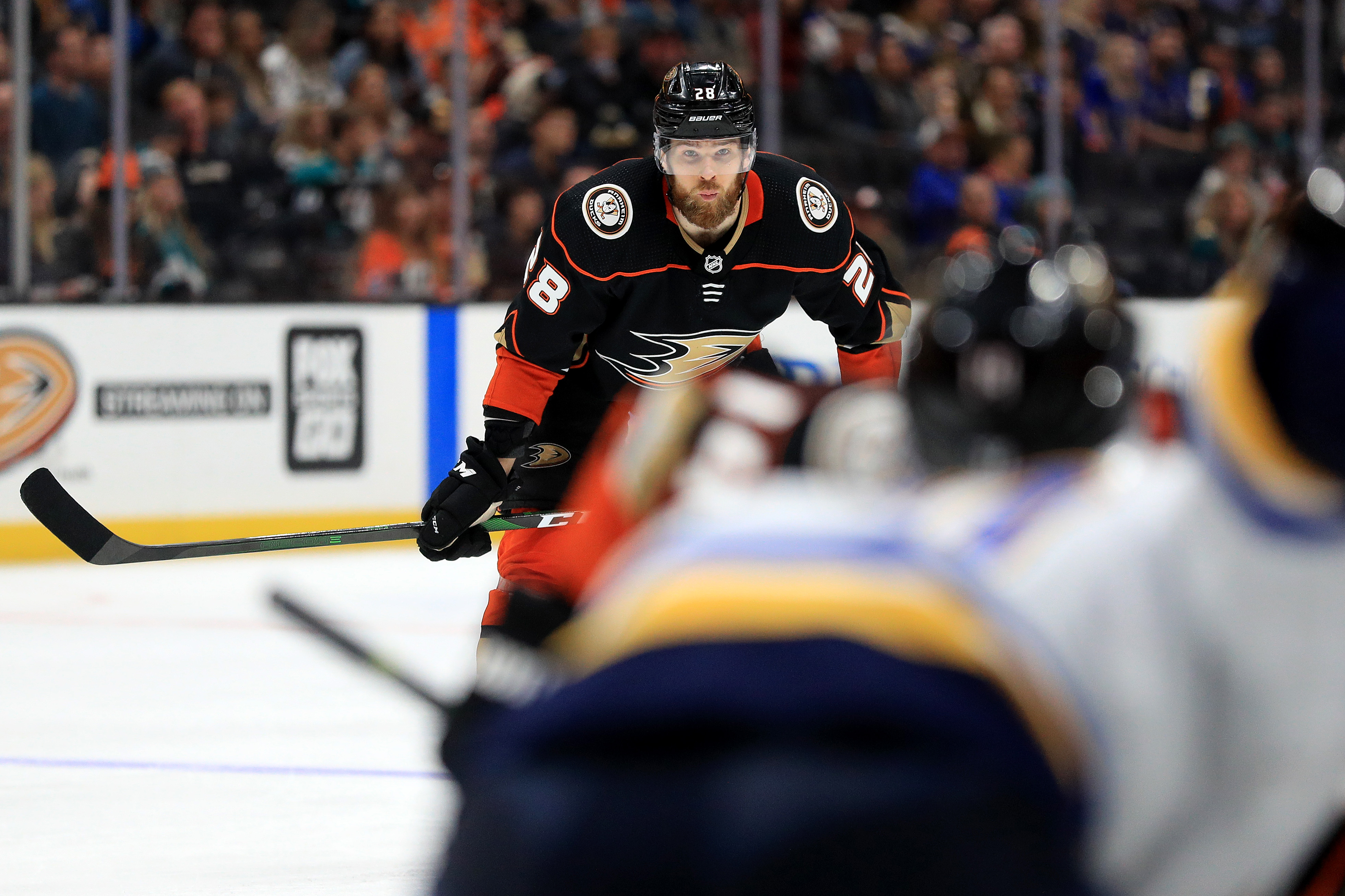 ANAHEIM, CALIFORNIA - MARCH 11: Jani Hakanpaa #28 of the Anaheim Ducks looks on during the second period of a game against the St. Louis Blues at Honda Center on March 11, 2020 in Anaheim, California.