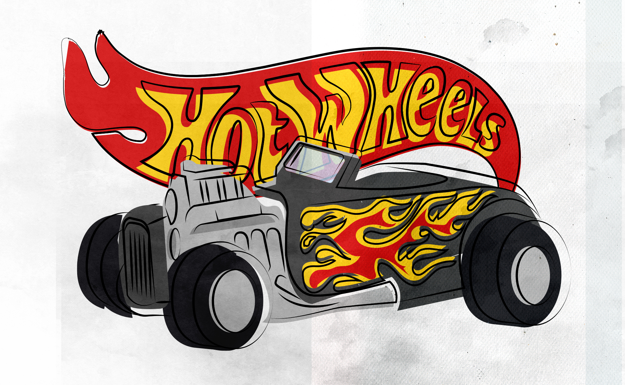 Illustration of a black Hot Wheels roadster with flames on the side in front of an illustrated Hot Wheels logo.