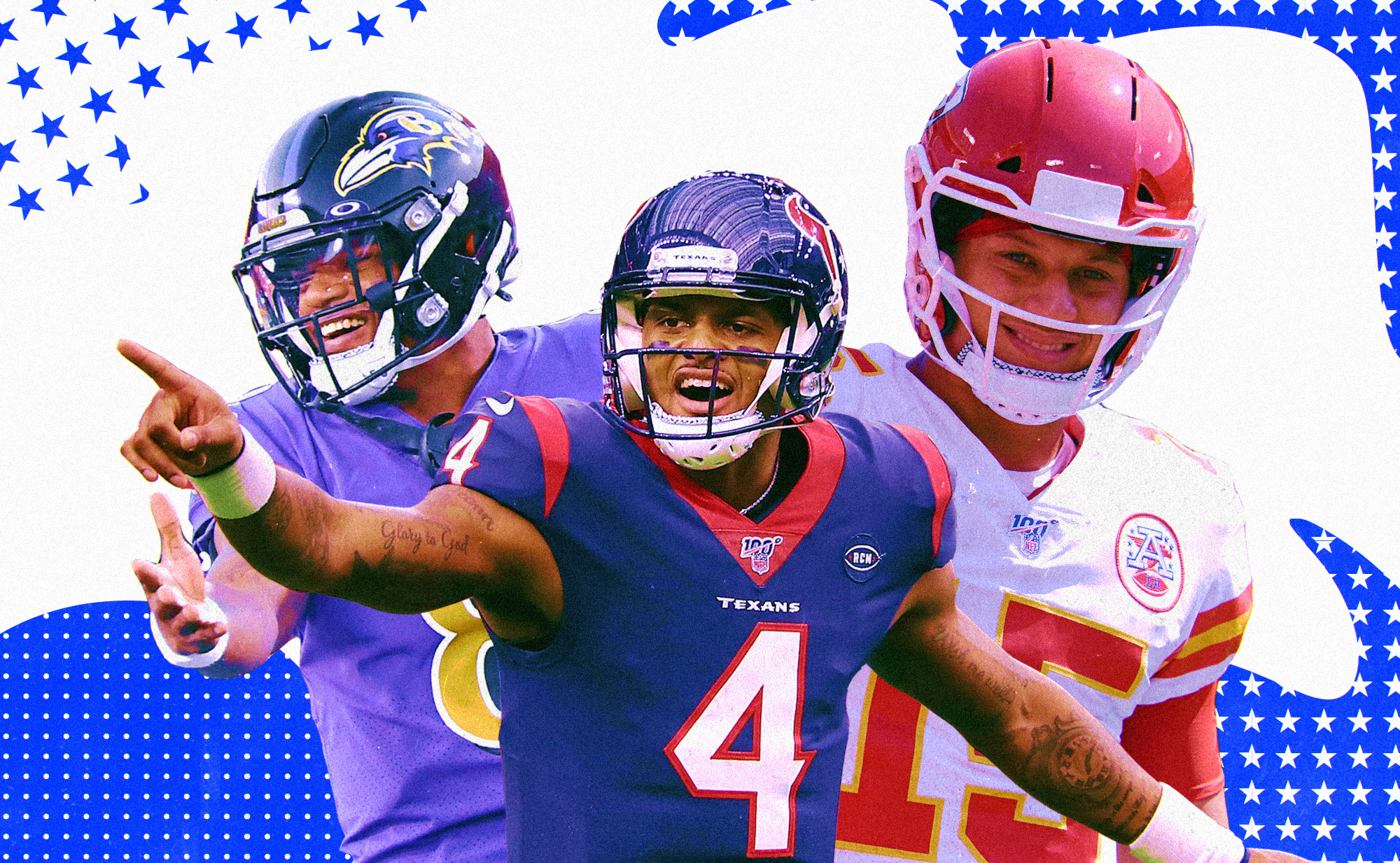 An art collage of NFL QBs Lamar Jackson (Ravens), Deshaun Watson (Texans), Patrick Mahomes (Chiefs), superimposed on a blue and white background with stars