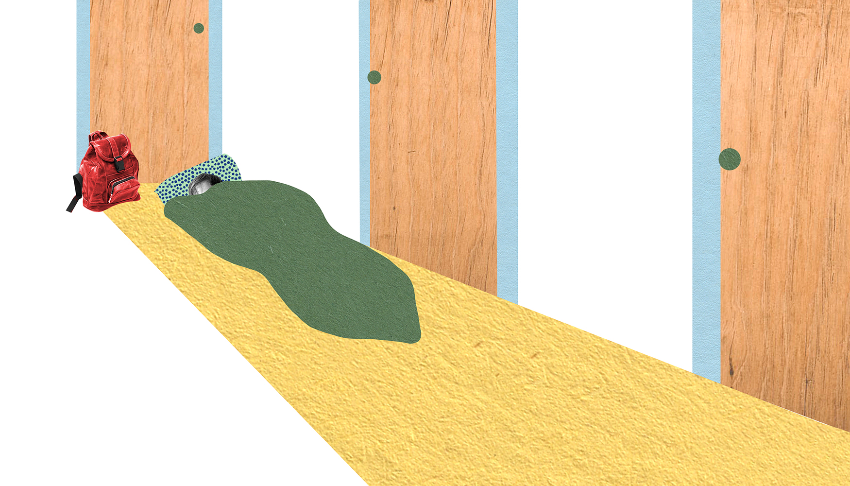 A woman sleeps in a green sleeping bag in a long narrow hallway in front of a closed door. She has a red backpack next to her. Illustration.