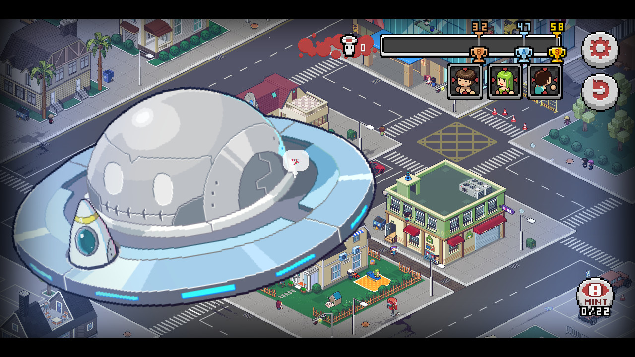 a UFO hovers over a city block in Death Coming