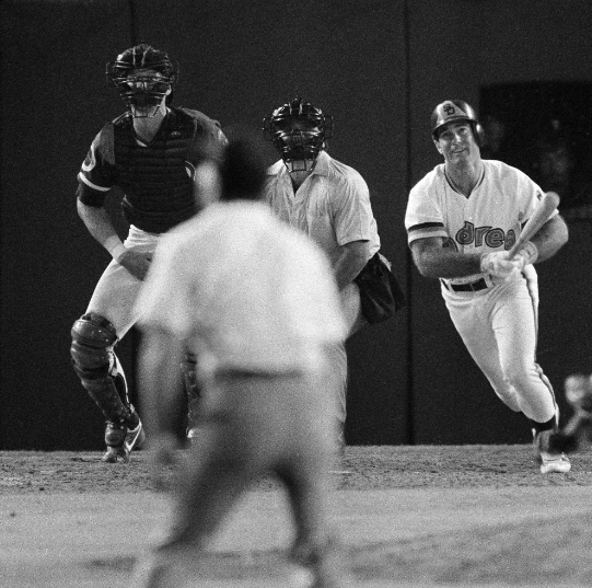 Steve Garvey follows the flight of his walk-off home run in Game 4 of the National League Championship Series on Oct. 6, 1984. It gave the Padres a 7-5 victory and tied the series 2-2. They won it the next day.