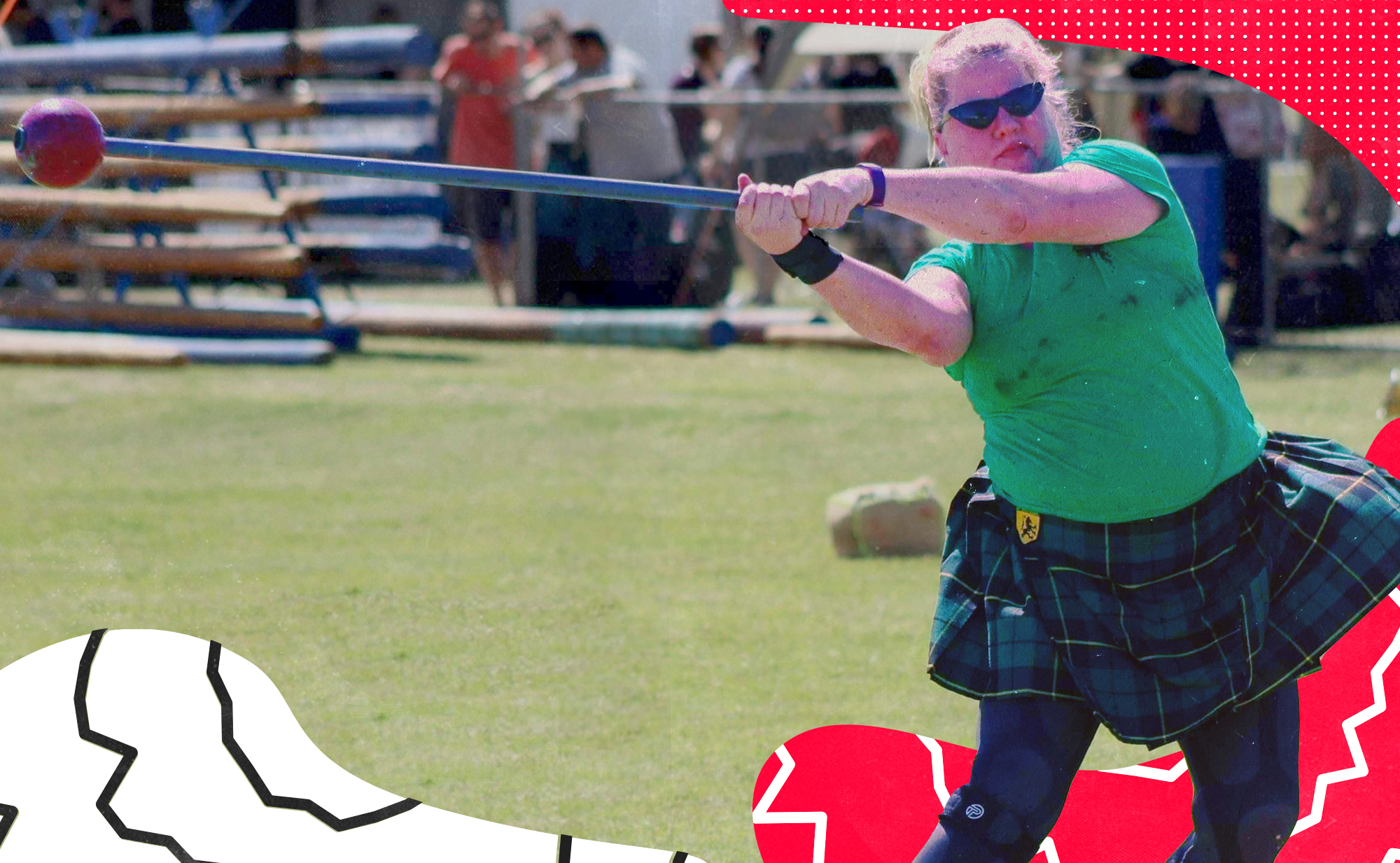 """Highland games competitor in a green t-shirt and kilt swinging a """"hammer"""" as part of the hammer throw event."""