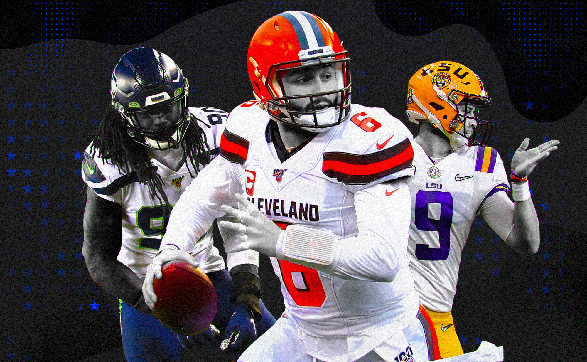 An art collage of NFL No. 1 picks Jadeveon Clowney, Baker Mayfield, Joe Burrow, superimposed on a black background with blue stars