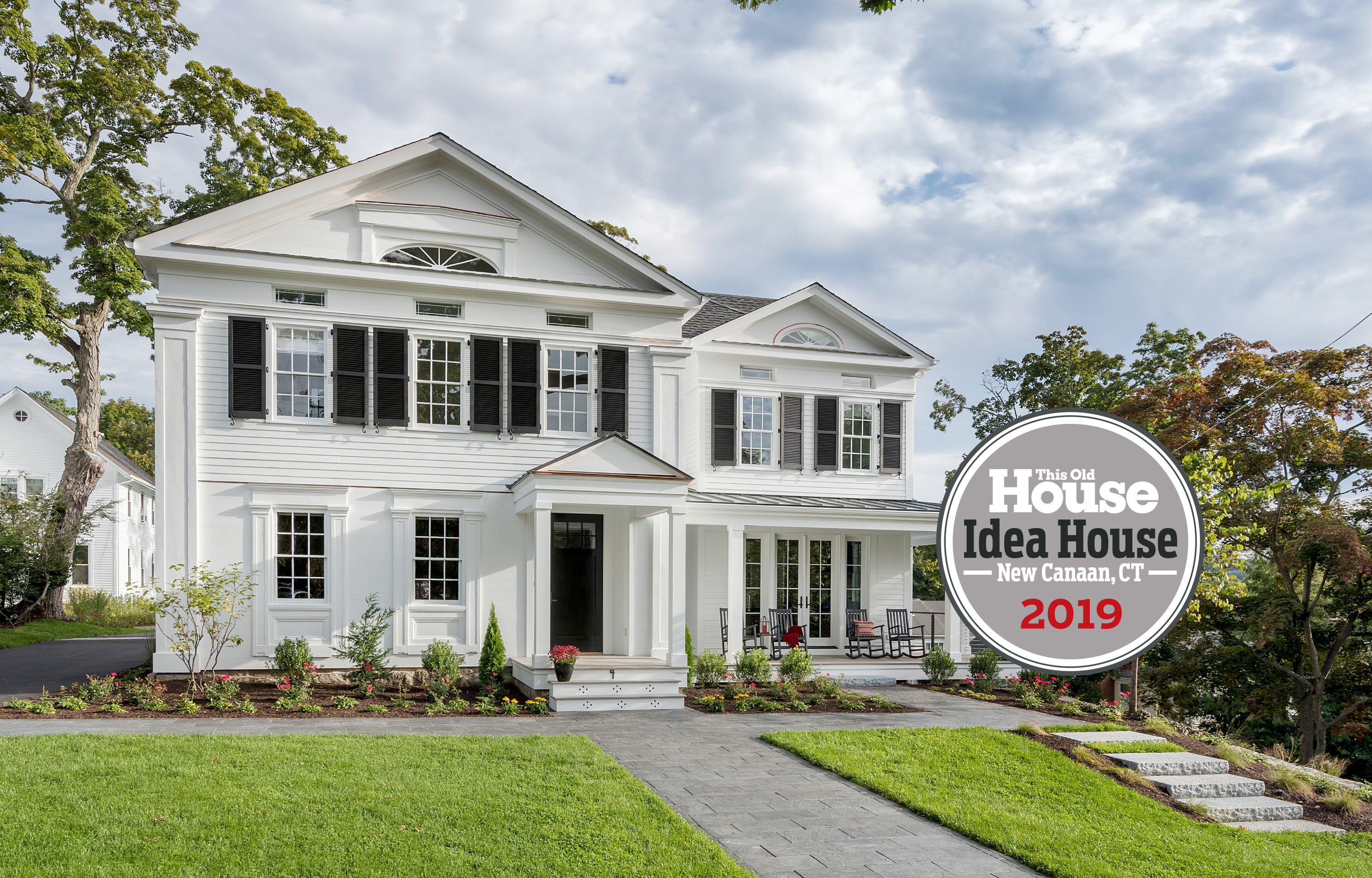 Idea House 2019, New Canaan, front exterior with logo