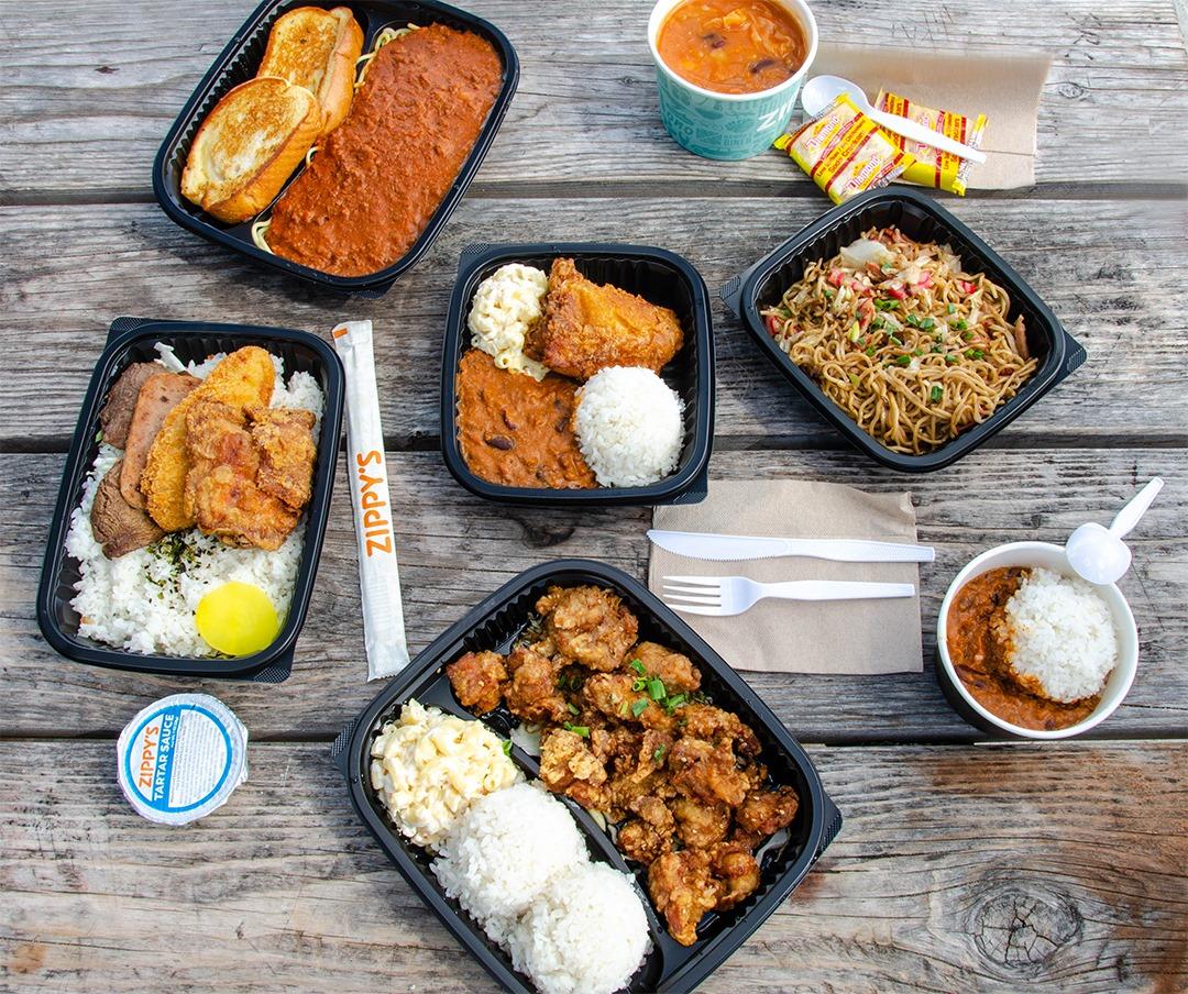 An array of Hawaiian dishes from Zippy's