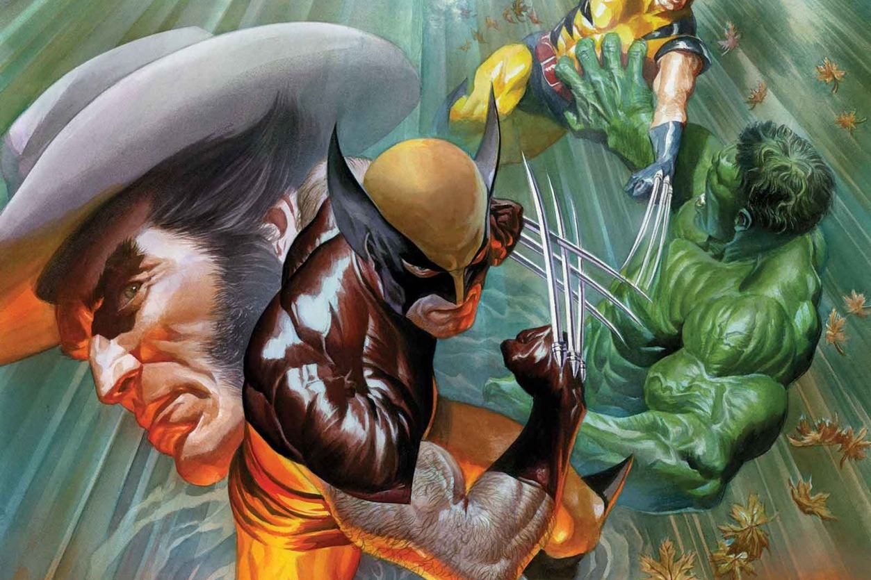 Wolverine, claws out, stands in rippling water. In the reflection are images of moments in his history, fighting the Hulk in his first appearance, and his companions in the X-Men. Cover of Death of Wolverine #1, Marvel Comics (2014).
