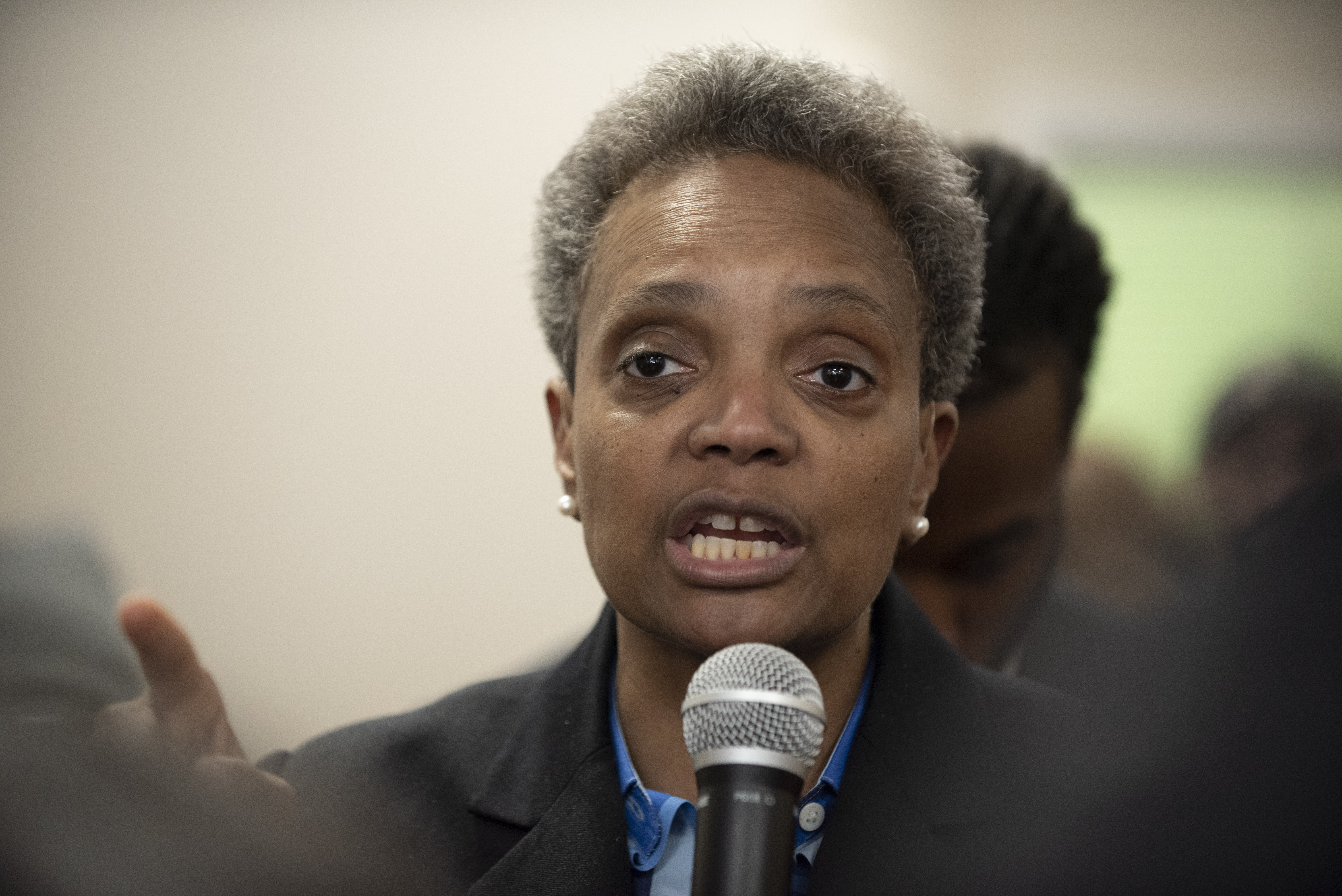 Chicago mayoral candidate Lori Lightfoot speaks in Lightfoot's South Shore field office on March 31, 2019. | Colin Boyle/Sun-Times
