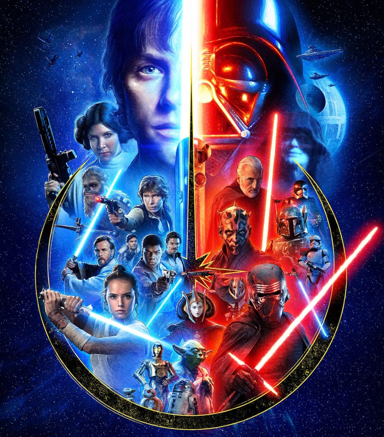 Art from Star Wars' complete Skywalker Saga.