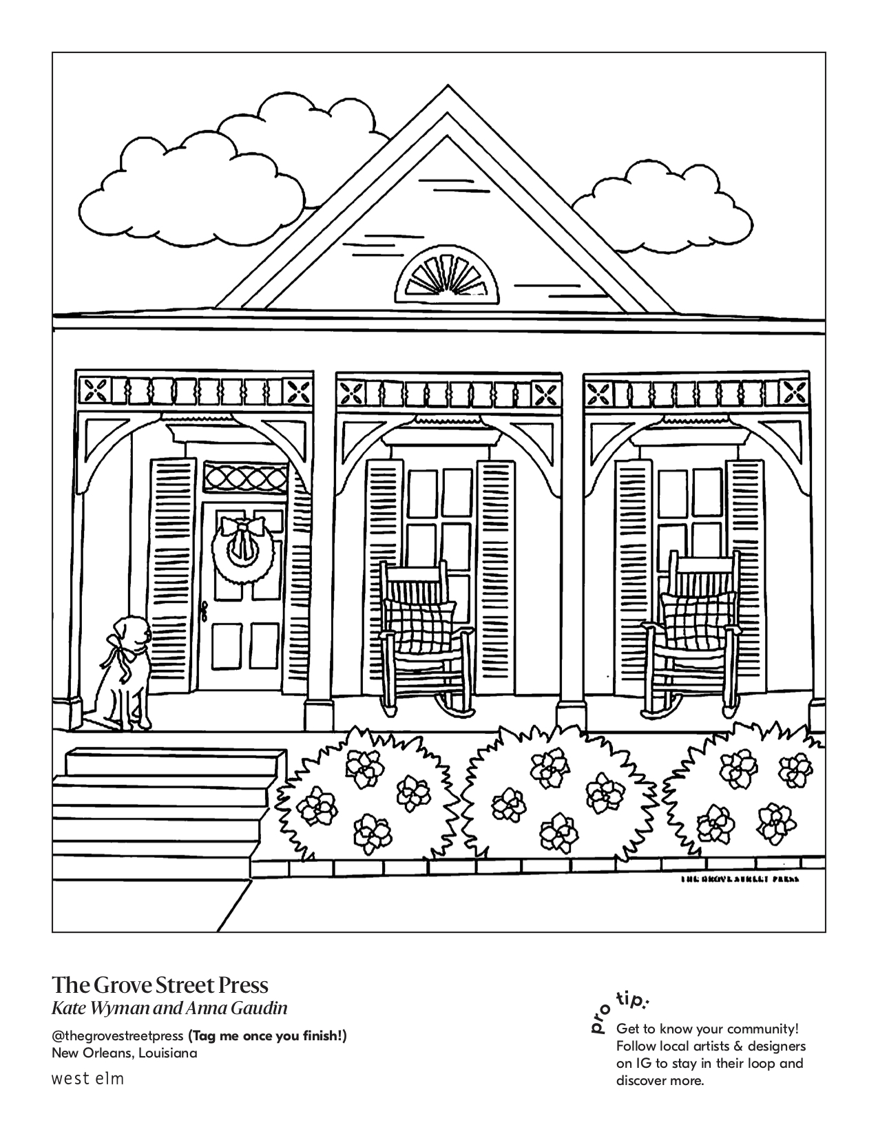 Line drawing of a pitched roof house with a porch.