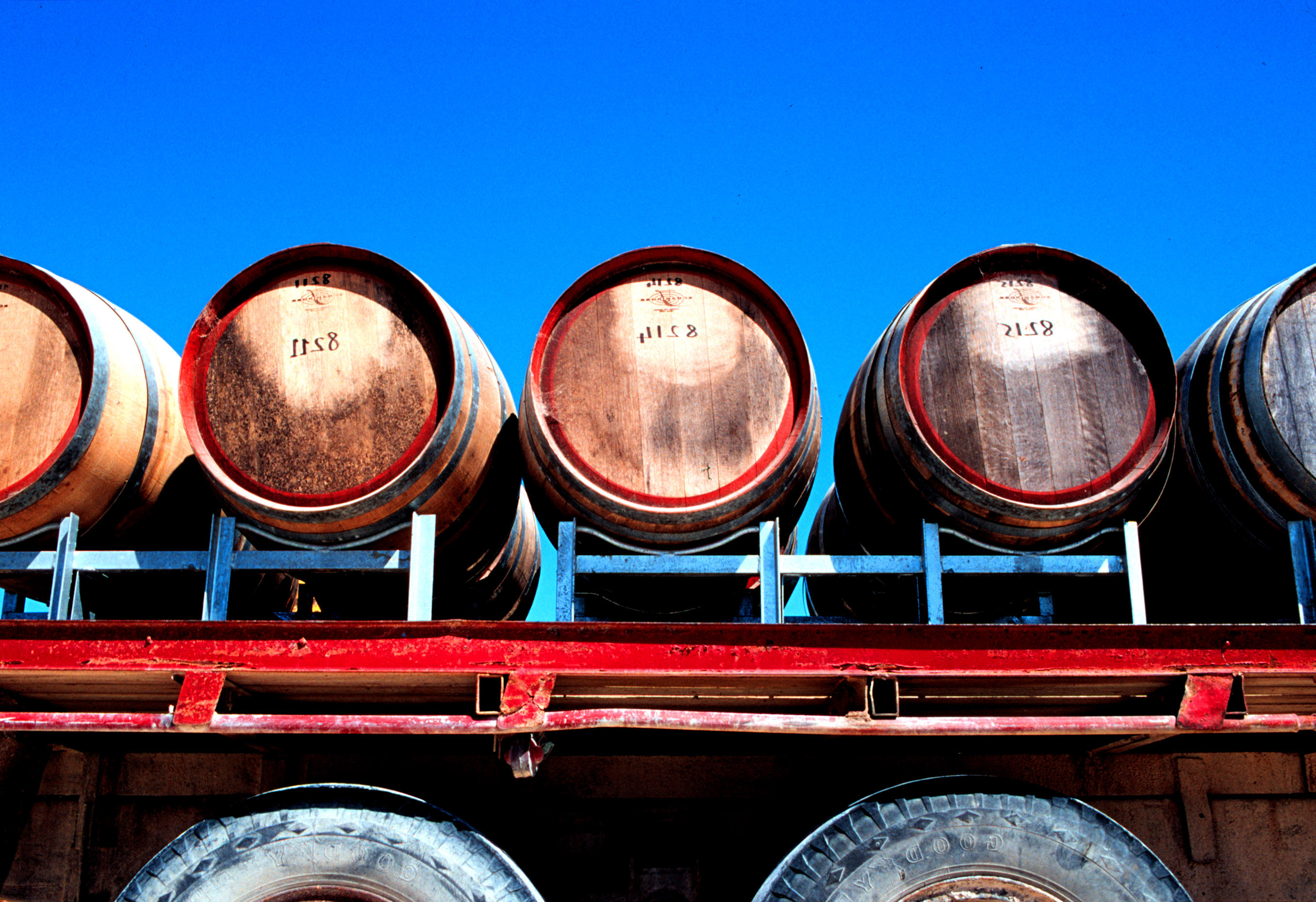Wine barrels on truck