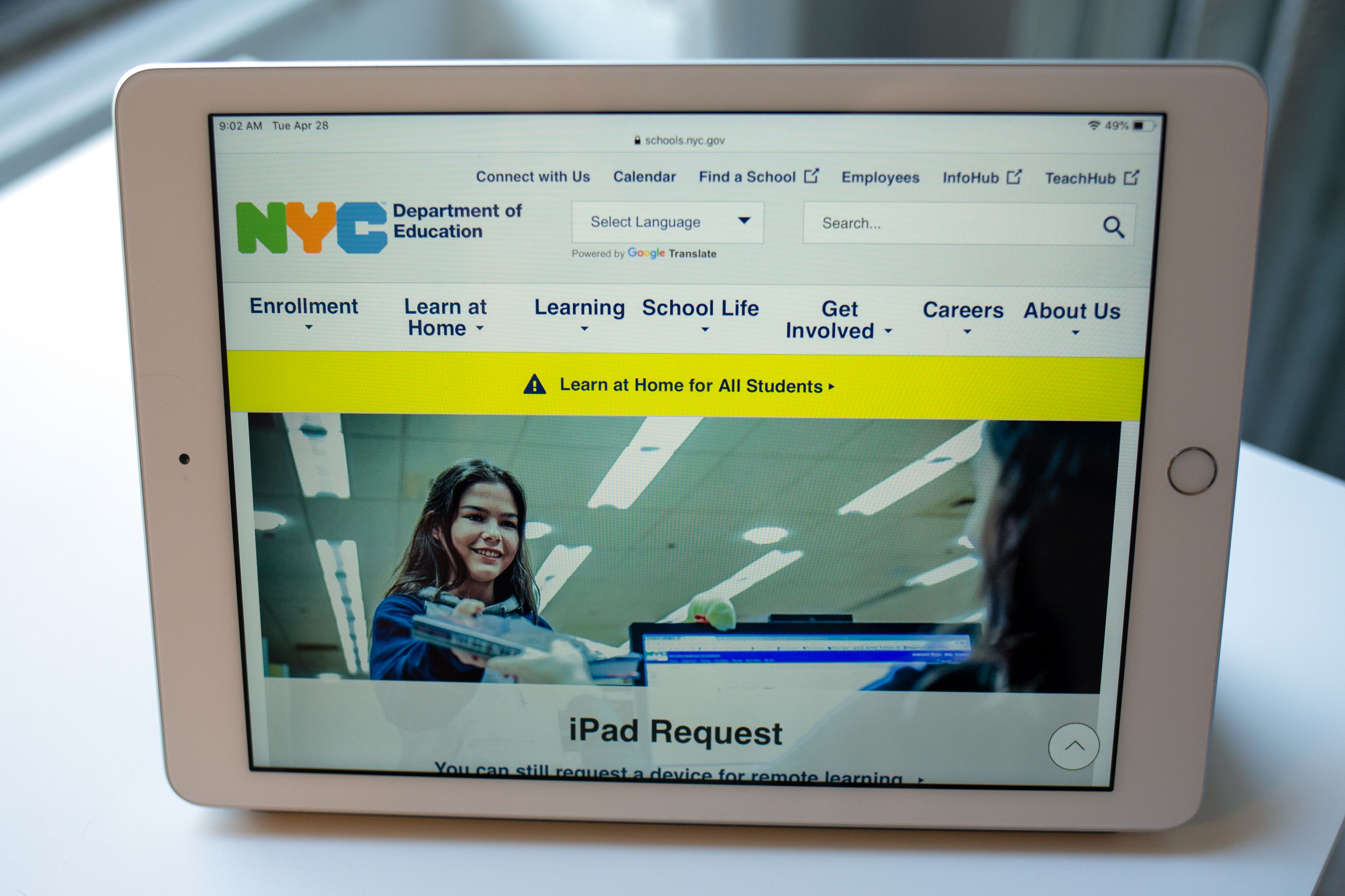 The Department of Education was providing iPads for remote learning during the coronavirus outbreak.