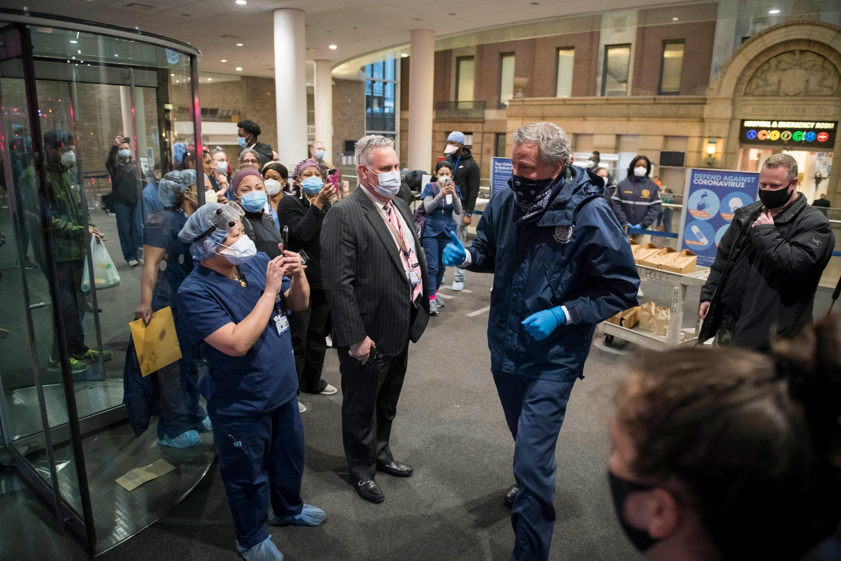 Mayor Bill de Blasio visits Bellevue Hospital workers during the coronavirus outbreak, April 10, 2020.