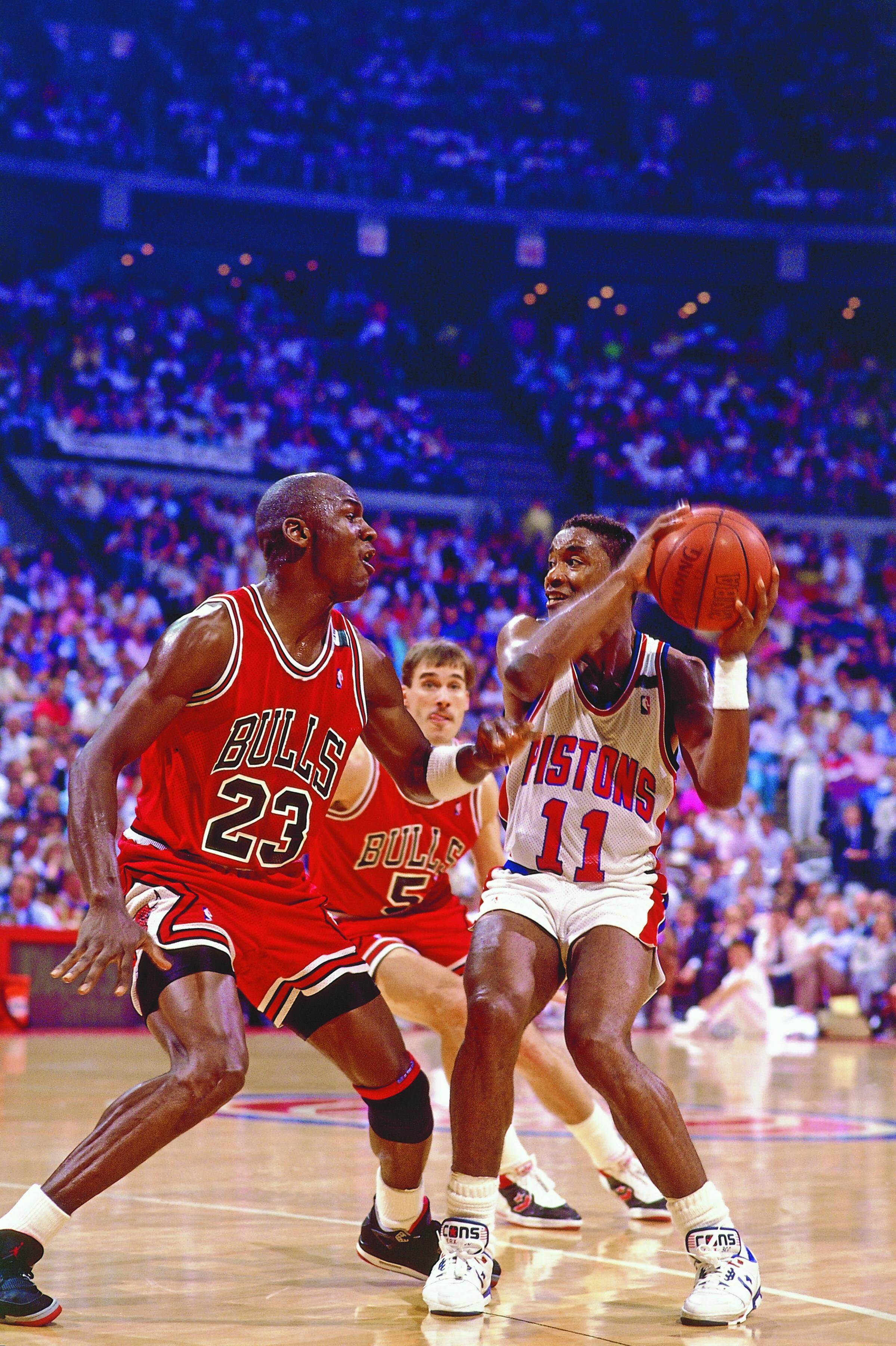 Isiah Thomas and Michael Jordan face off in 1988.