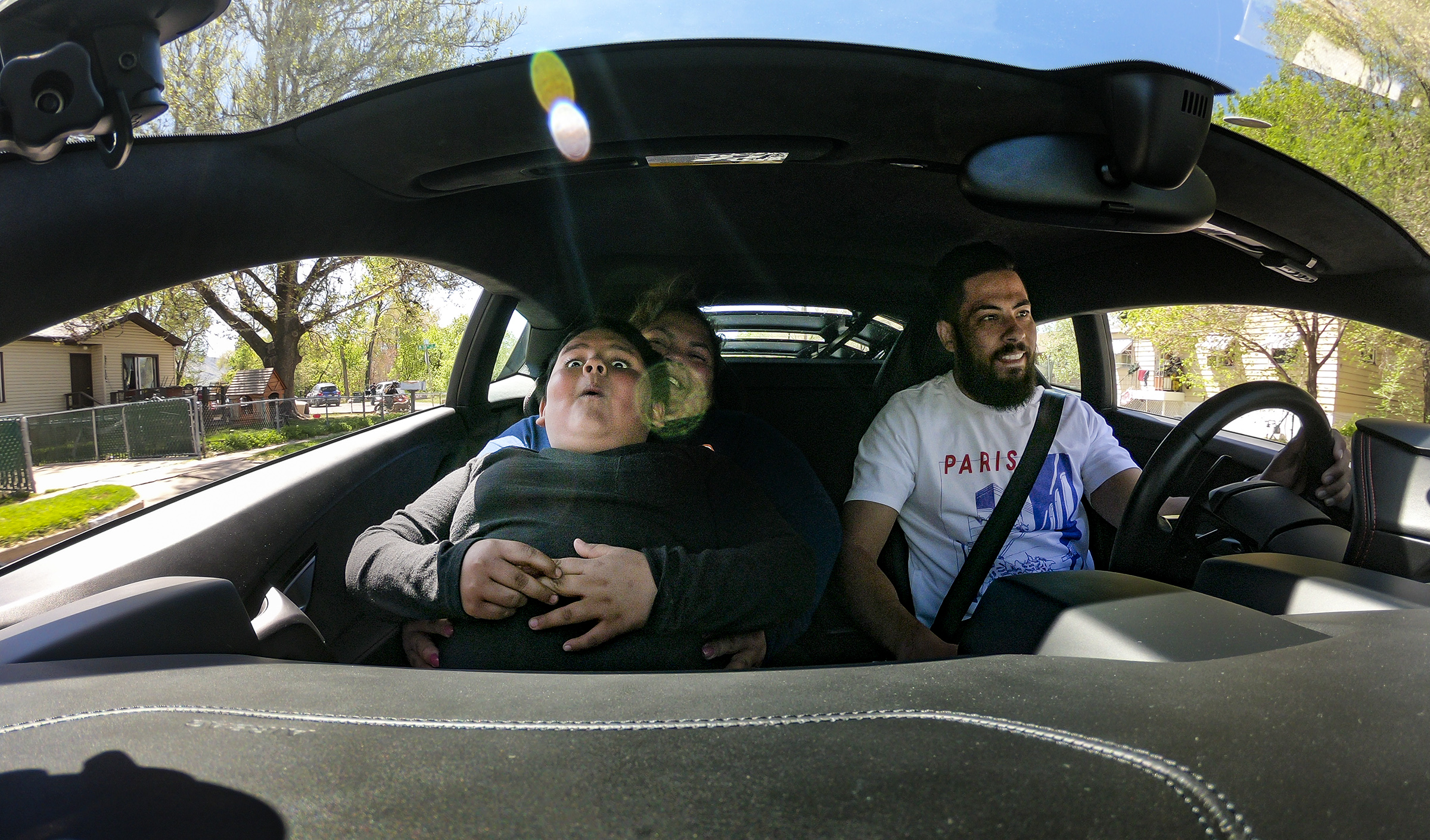 Adrian Zamarripa reacts as Jeremy Neves, owner of a Lamborghini Huracan, steps on the gas as Adrian and his mother, Beatriz Flores, go for a ride in Ogden on Tuesday, May 5, 2020 in Ogden. Adrian, who is 5, tried to drive his parents' car to California to get his own Lamborghini on Monday, He was stopped by the Utah Highway Patrol just a few miles from his home.