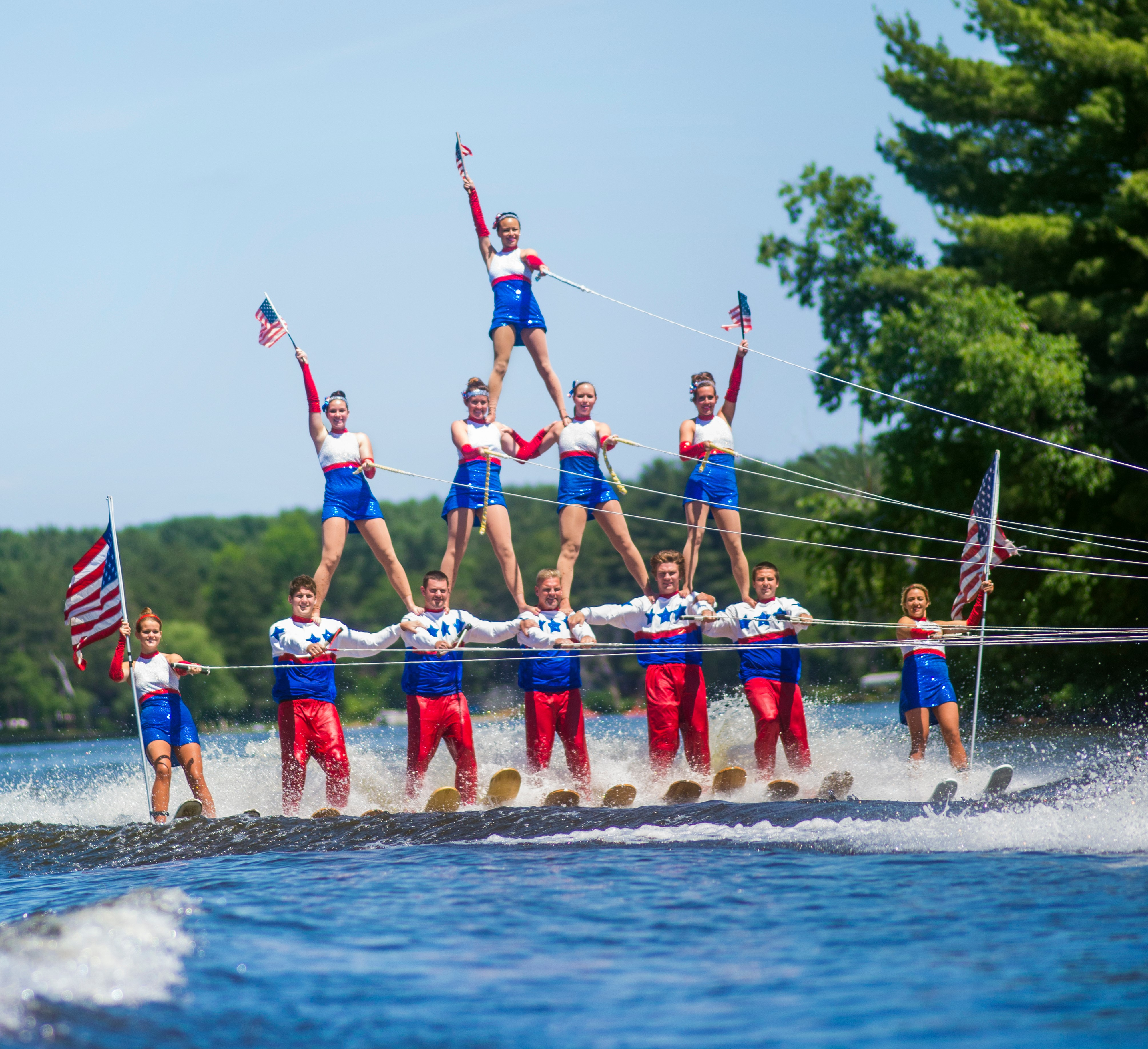 The classic water ski pyramid is performed by members of the Tommy Bartlett Water Show.