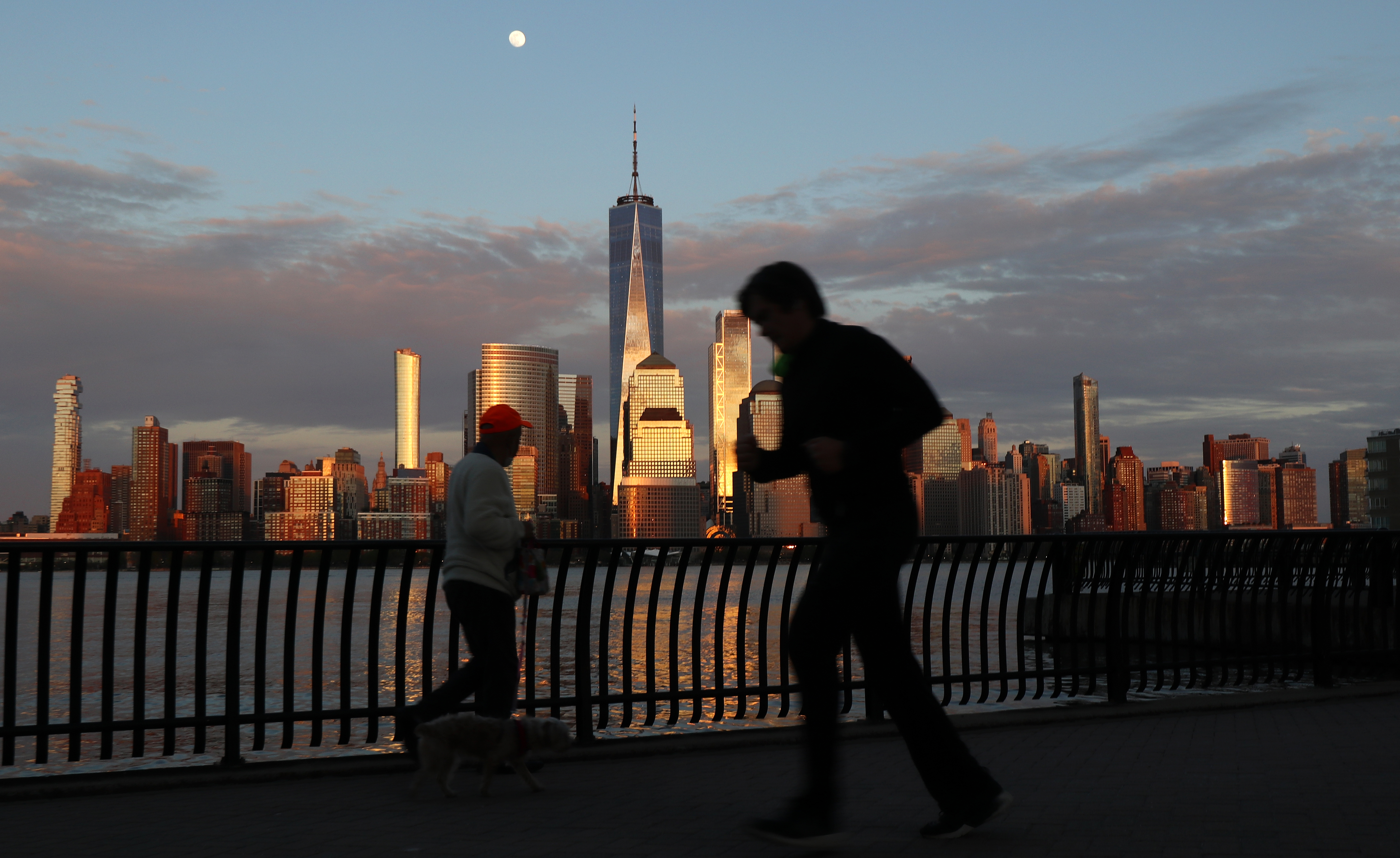 Sunset Moonrise in New York City