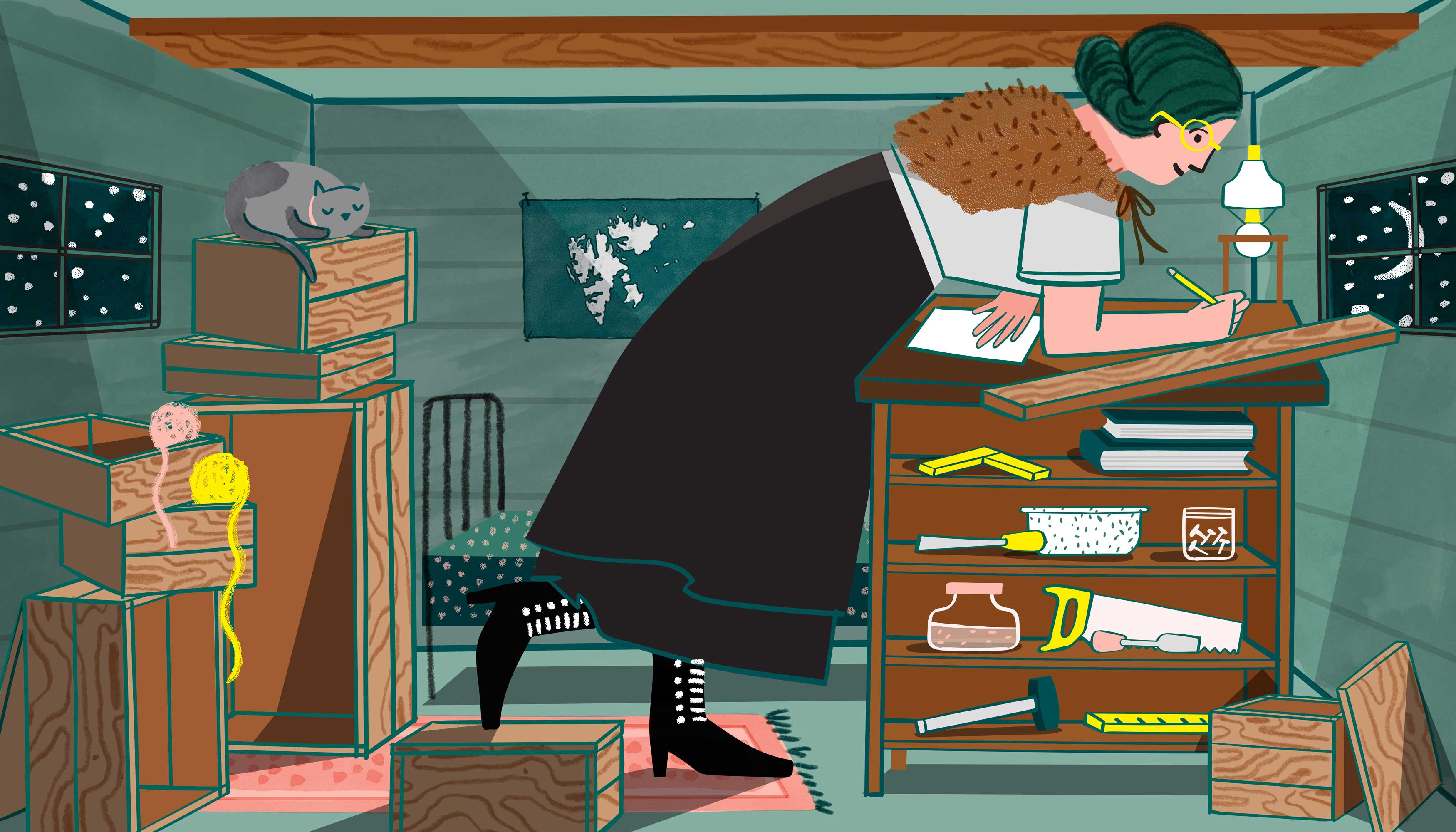 A woman crouches over a desk in an attic with a low ceiling. he is wearing a floor-length skirt, victorian-style lace up boots, and has a fur stole wrapped around her shoulders. She is surrounded by miscellaneous crafting supplies, tools, and stacks of boxes. Illustration.