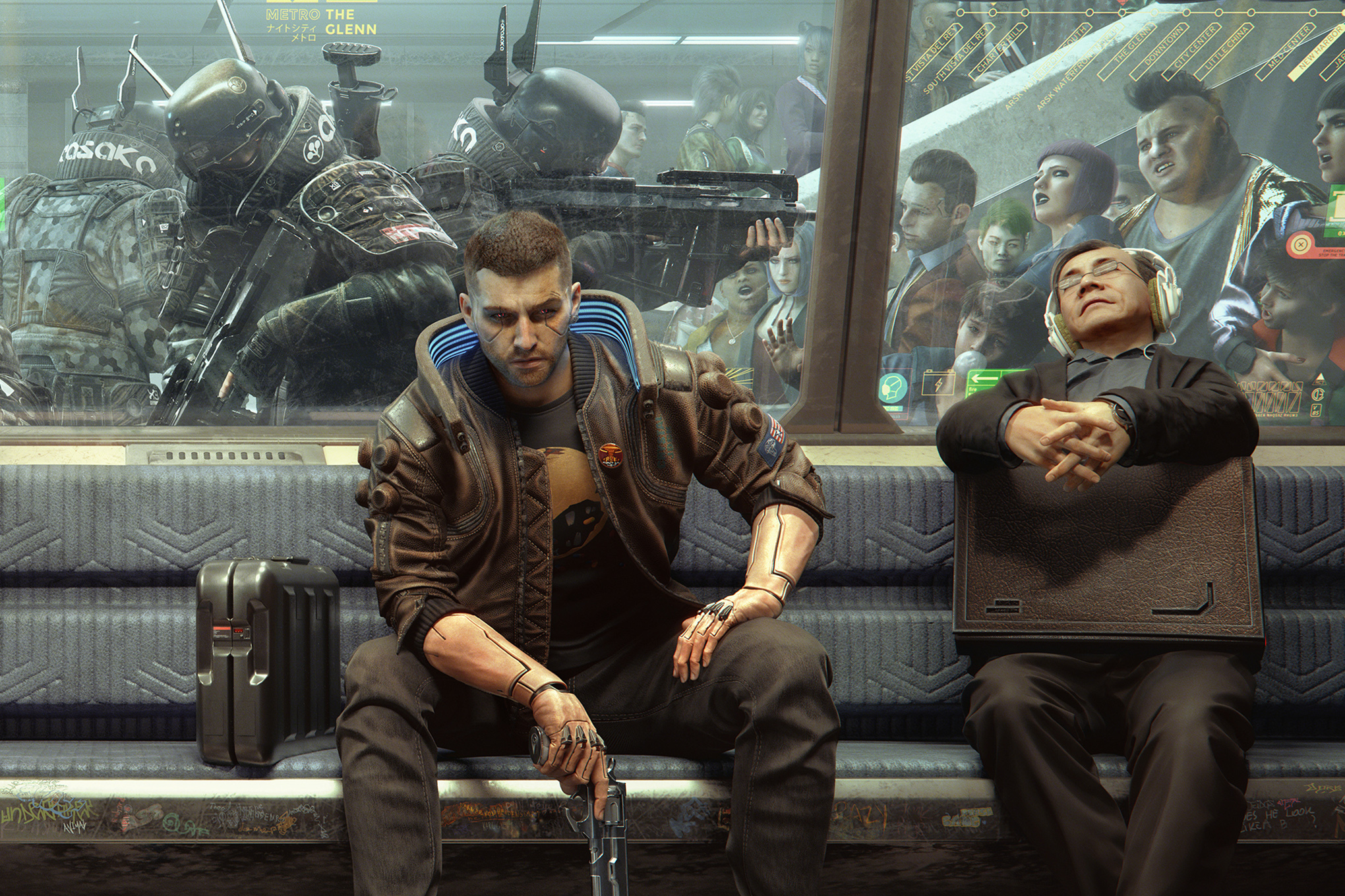 A character in Cyberpunk 2077 sits on a train