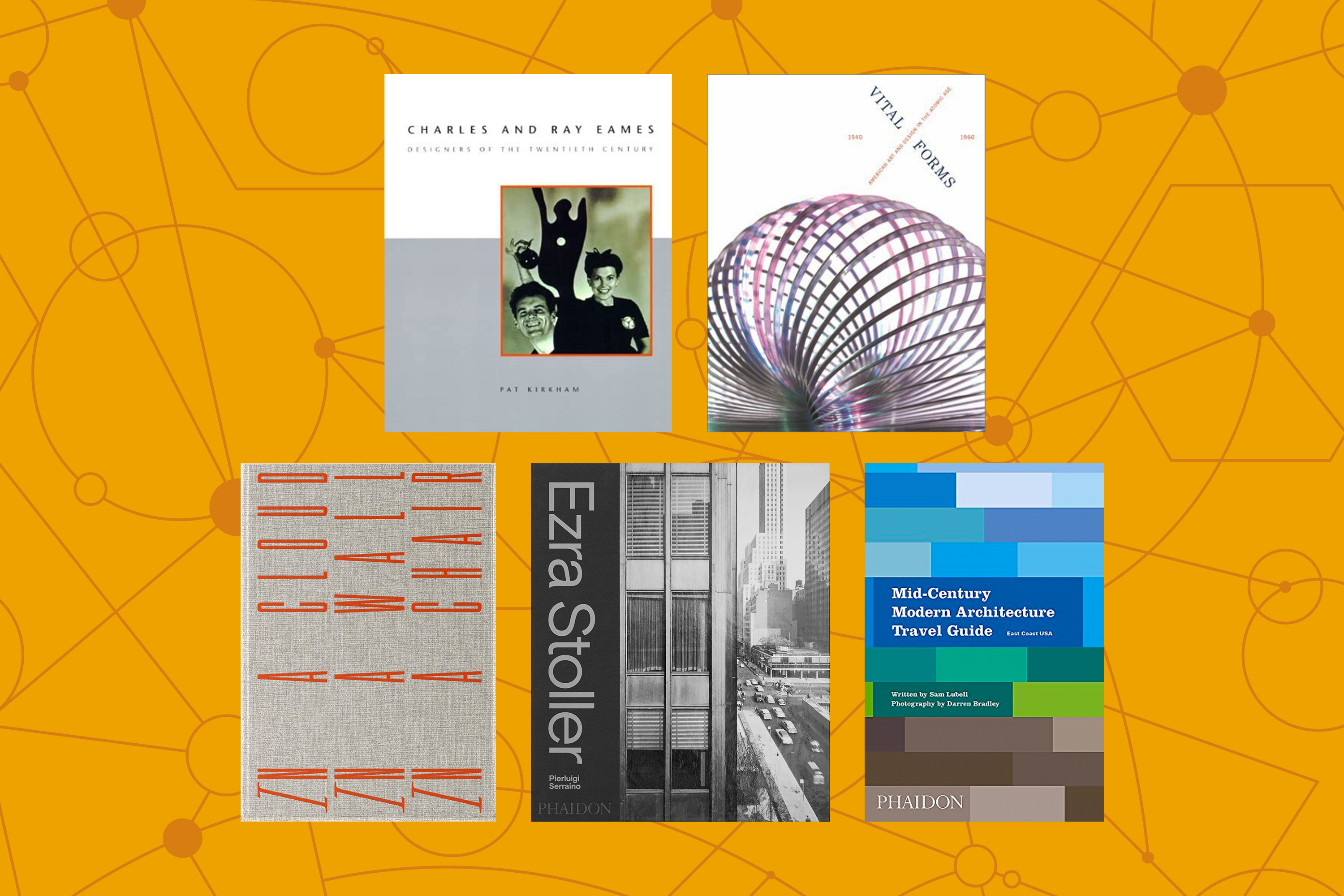 A collage of five book covers. The first has an image of Charles and Ray Eames on the cover, the second has a close-up image of a Slinky, the third is a pattern of different shades of blue and brown, the fourth has a photograph of a skyscraper, the fifth has orange lettering on it