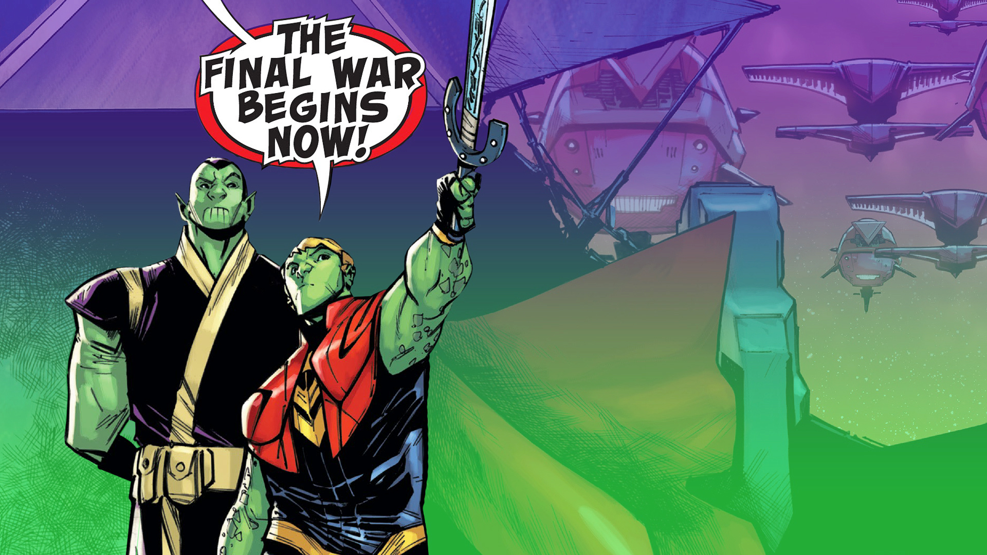 """green skinned comic book warriors with speech bubble above their heads with """"the final war begins now"""""""