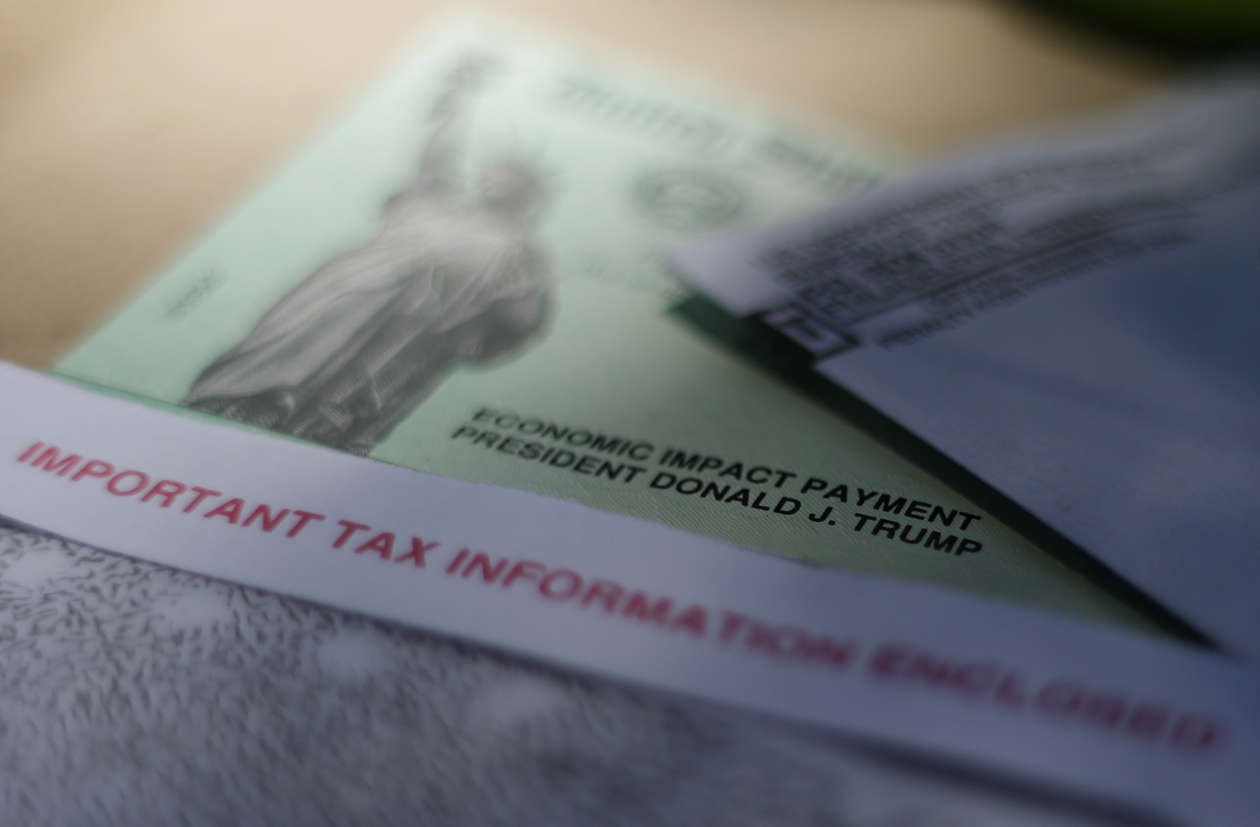 President Donald J.Trump's name is printed on a stimulus check issued by the IRS to help combat the adverse economic effects of the COVID-19 outbreak.