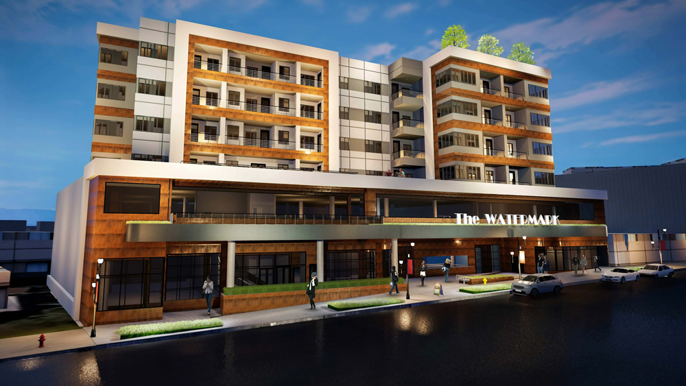 A rendering of The Watermark residential and commercial building headed to Water Street.