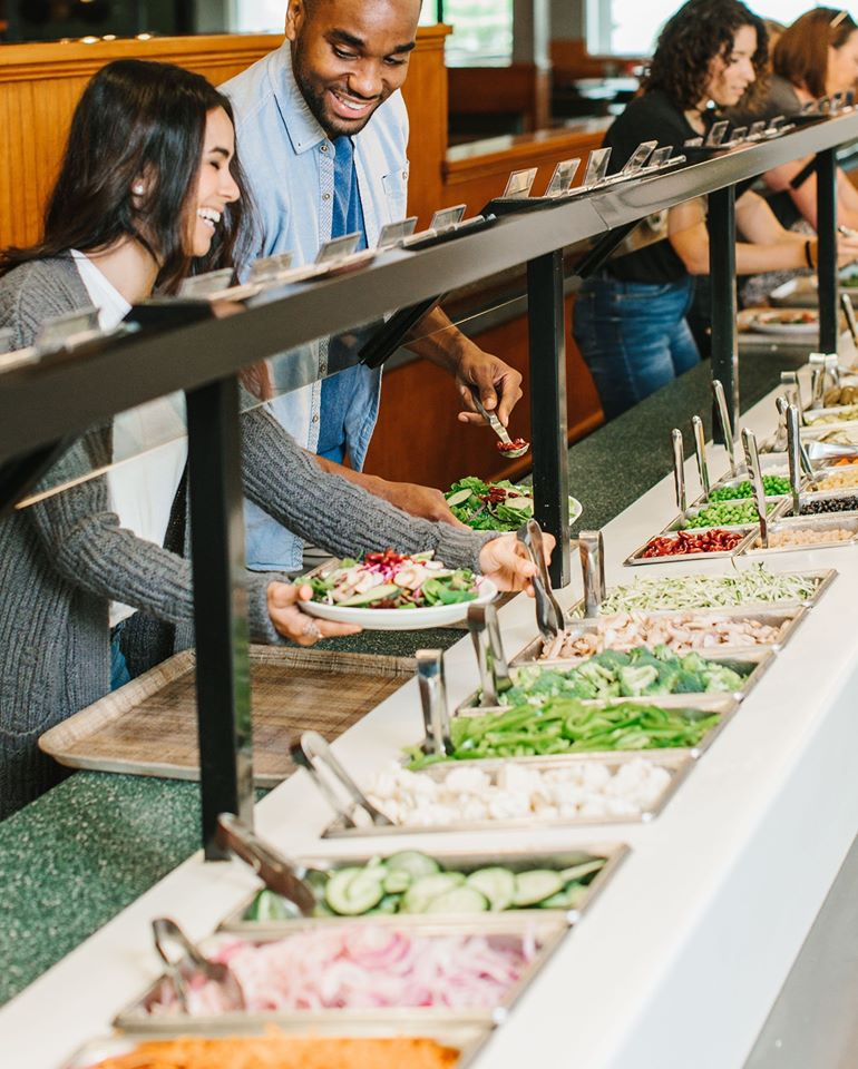 The famous 50-foot salad bar, now closed at all three local Sweet Tomatoes restaurants.